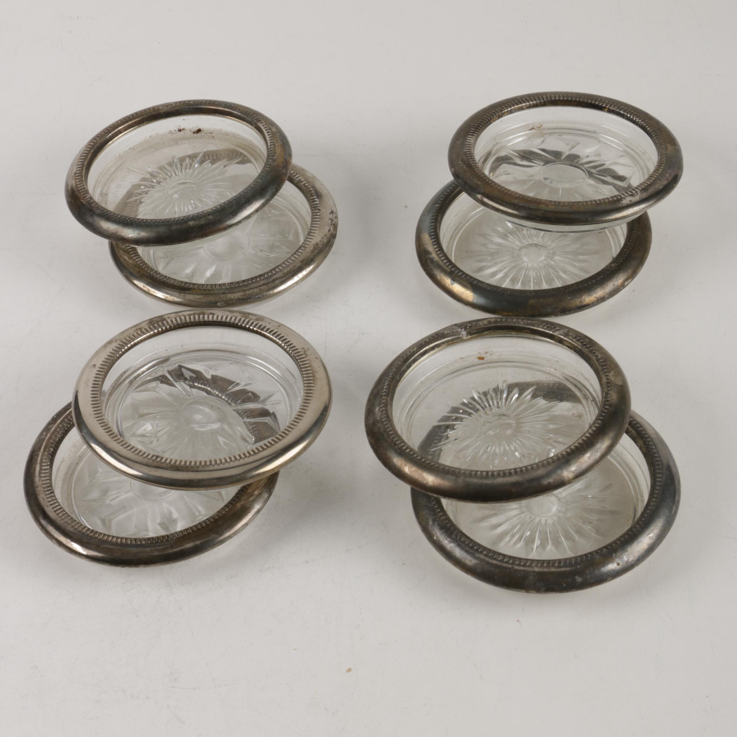 Two Sets of Sterling Rimmed Glass Coasters