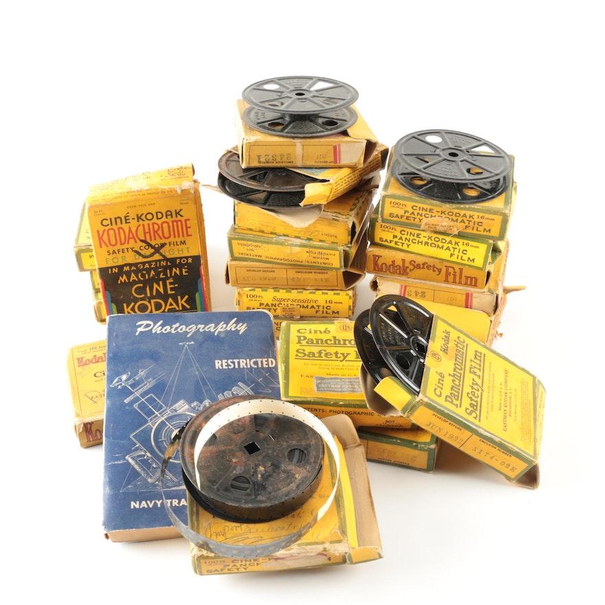 Vintage 16MM Kodak Film Reels and a U S  Navy Photography Booklet