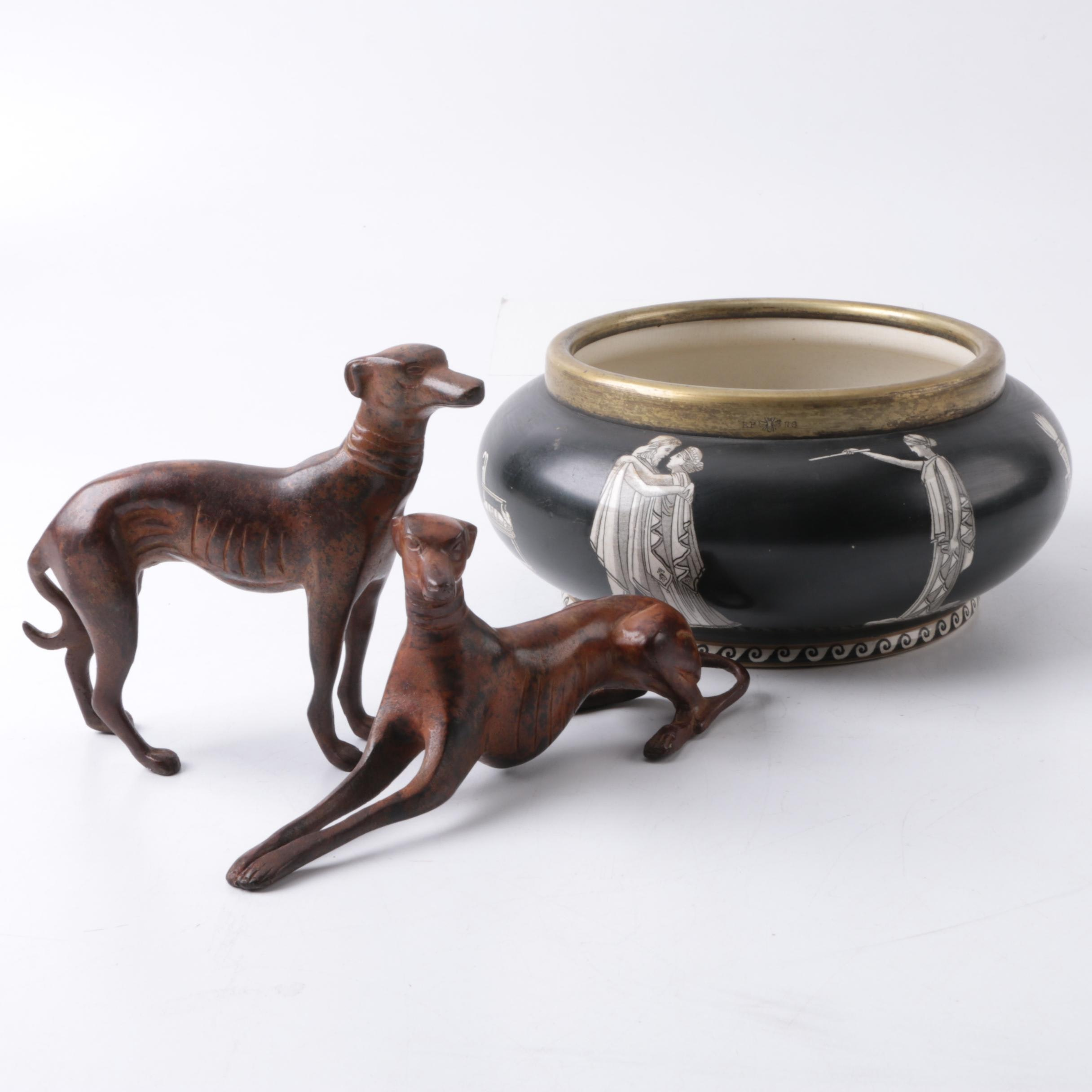 Classical Style Rialto Ware Vessel and a pair of Cast Metal Greyhound Figurines