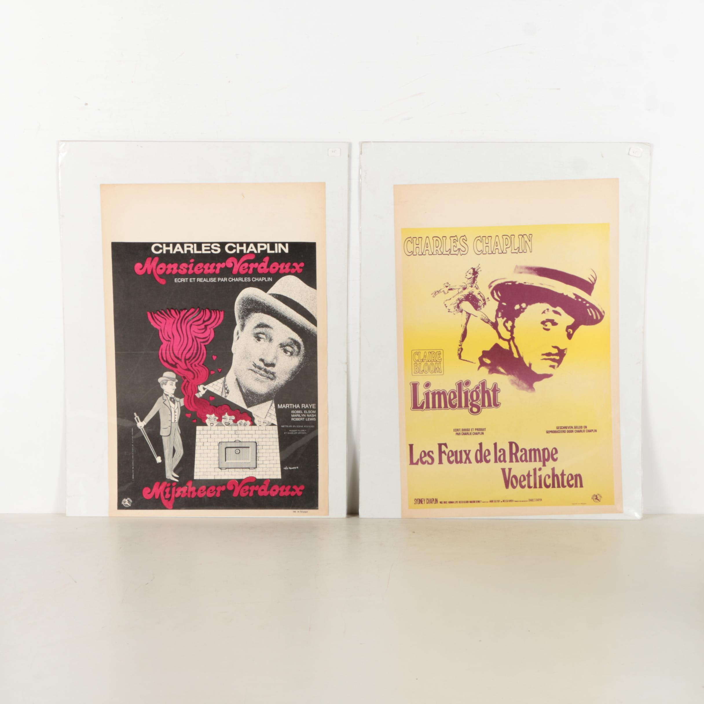 Two Mid Century Belgian Movie Posters for Charlie Chaplin Films