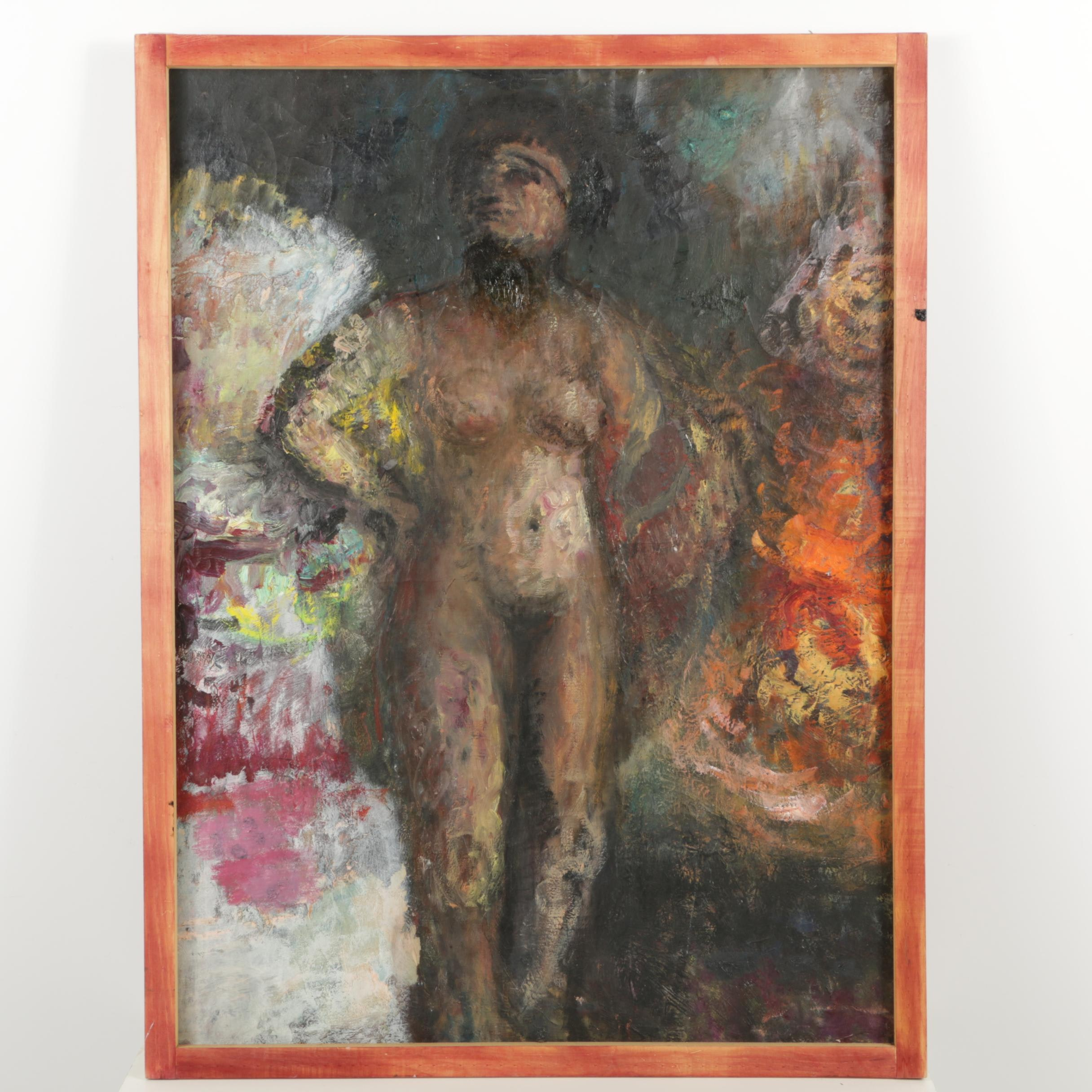 Oil Painting on Canvas of Nude Figure