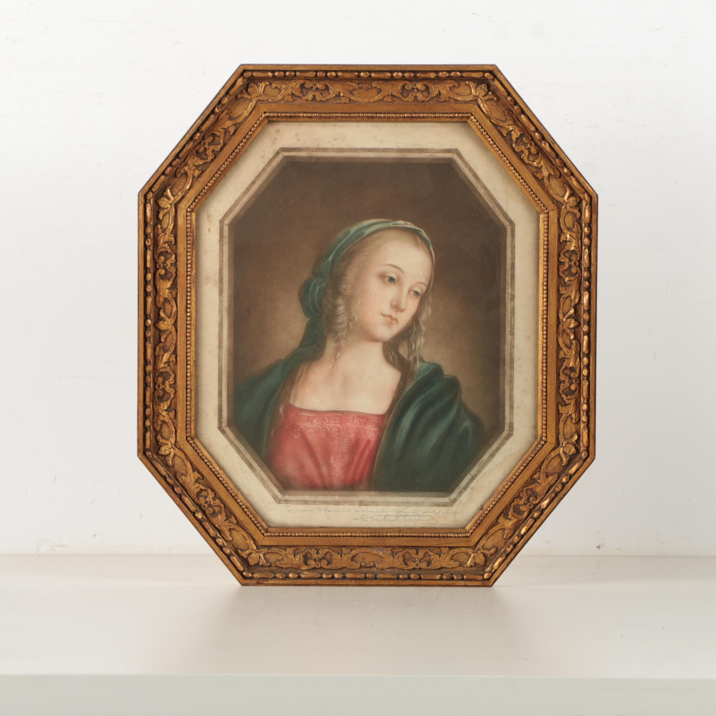 Framed Intaglio Print of the Madonna