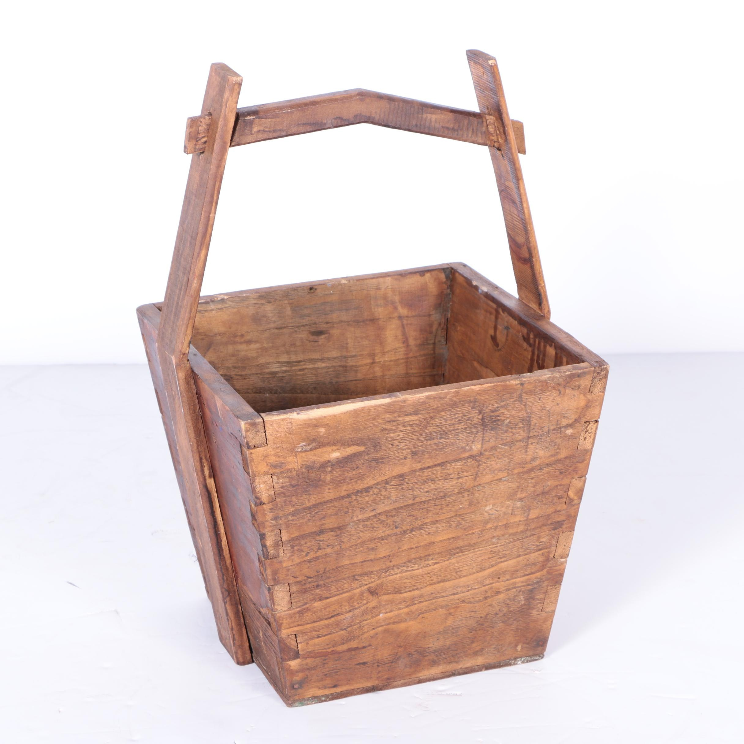Vintage Chinese Teak Rice Bucket