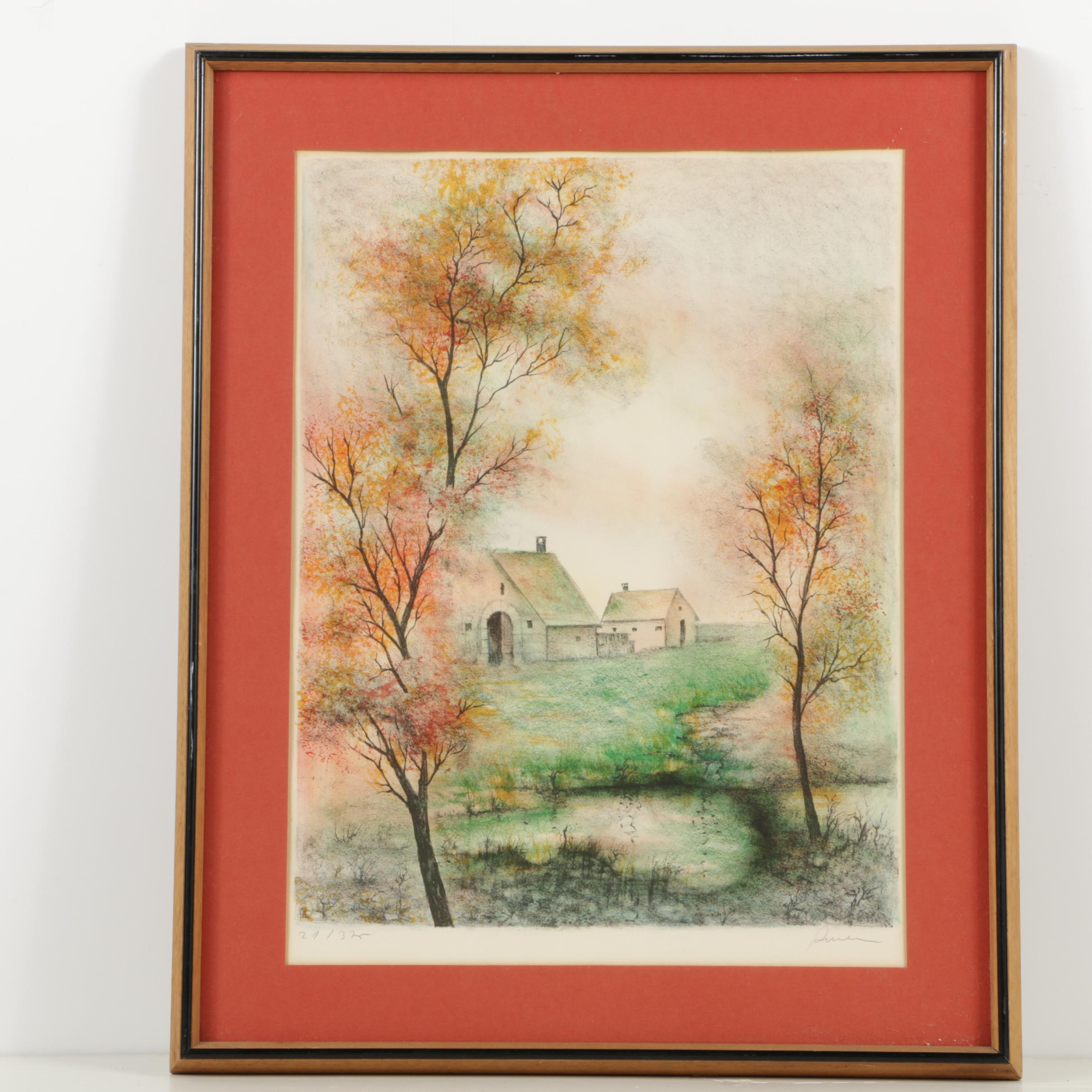 Limited Edition Color Lithograph of Fall Scene