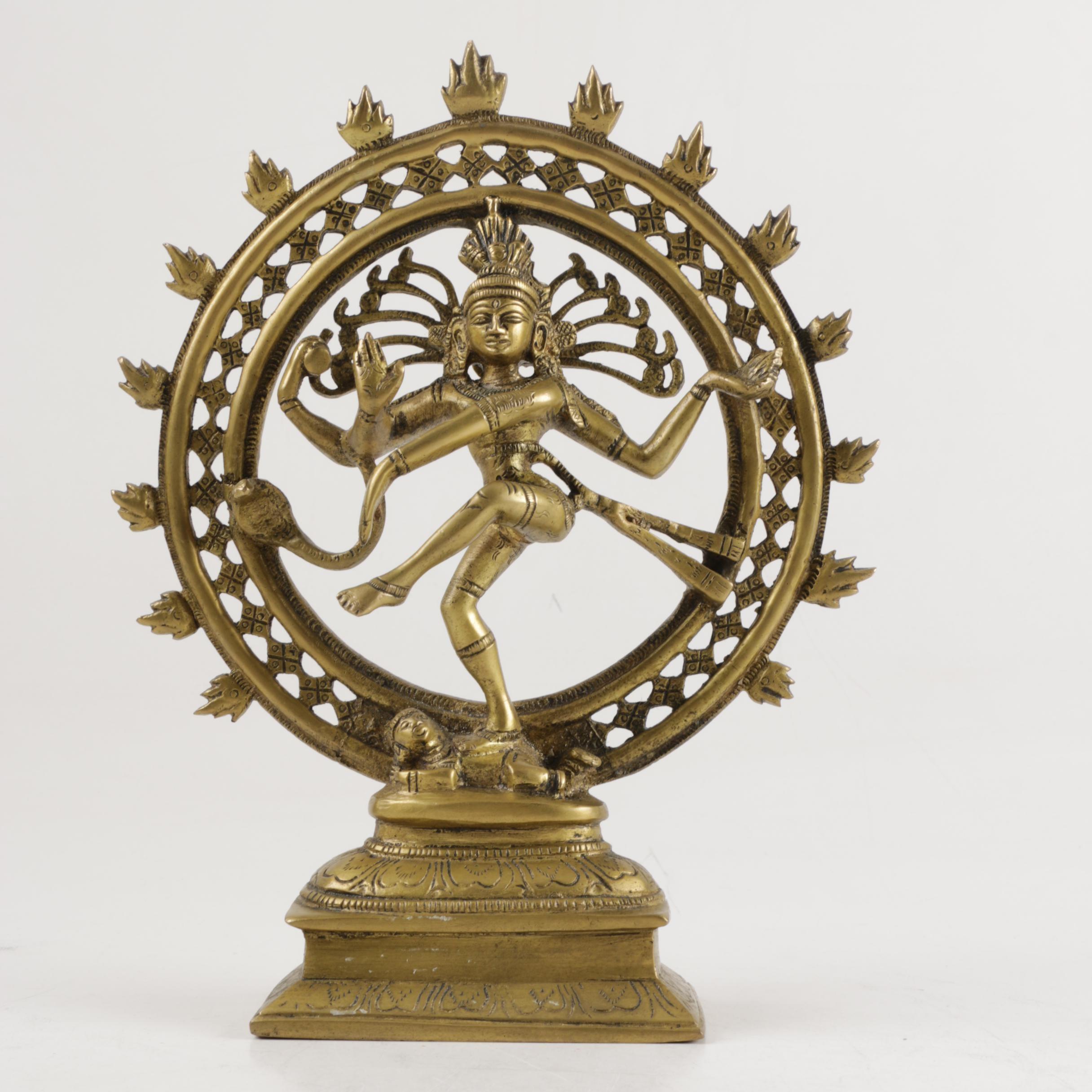 Brass-Tone Shiva Nataraja Figurine