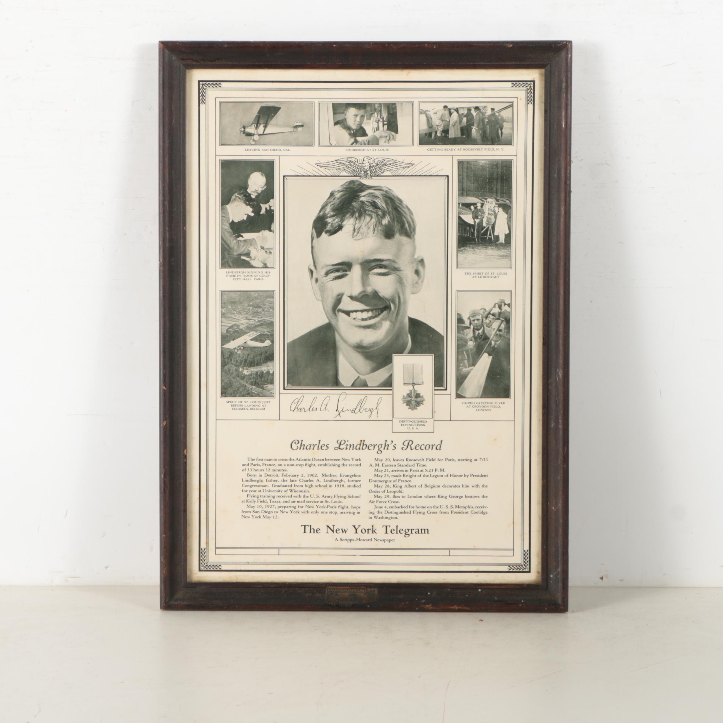 Mid Century New York Telegram Charles Lindbergh Letterpress and Halftone Poster