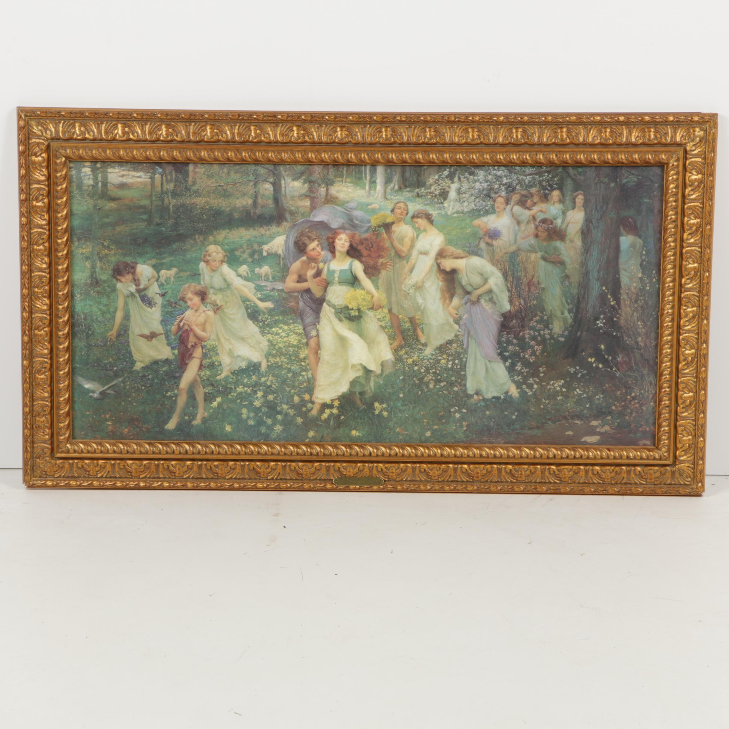 "Offset Lithograph after Charles Daniel Ward ""The Progress of Spring"""