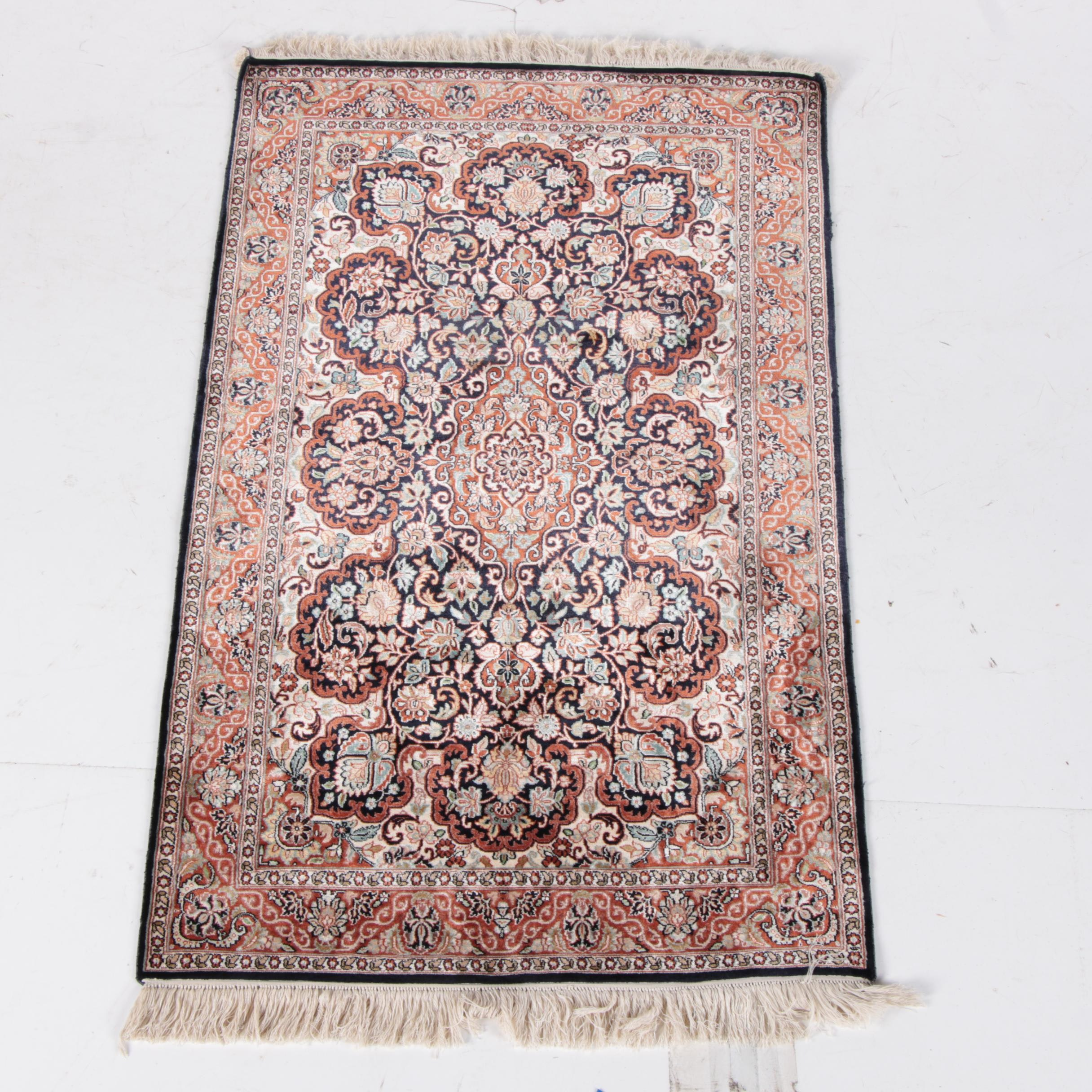 "Hand-Knotted Indo-Persian ""Jewel of Kashmir"" Silk Area Rug"