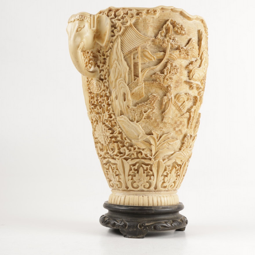 Chinese Inspired Carved Resin Vase From Italy Ebth