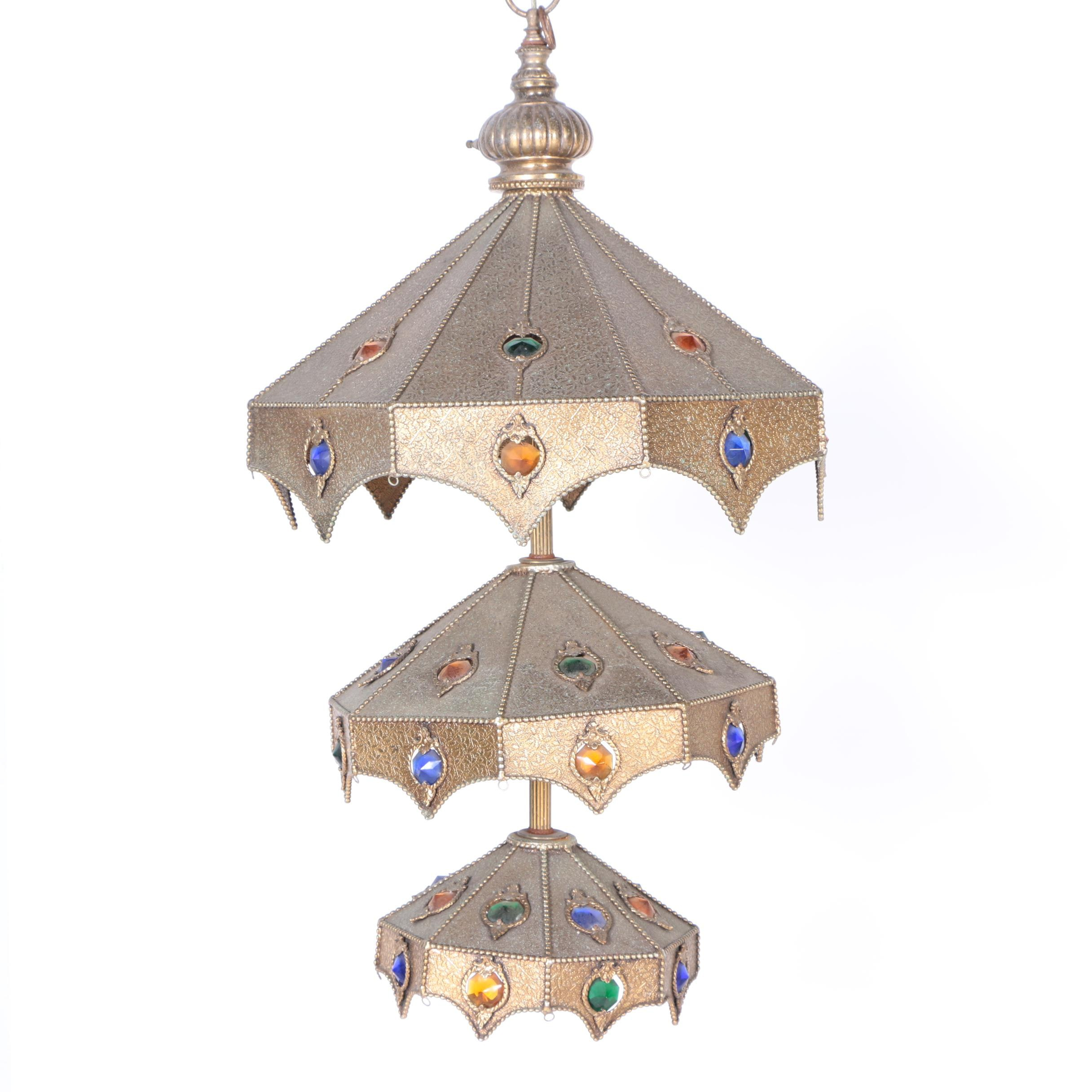 Moroccan Style Brass Electric Pendant Light Fixture