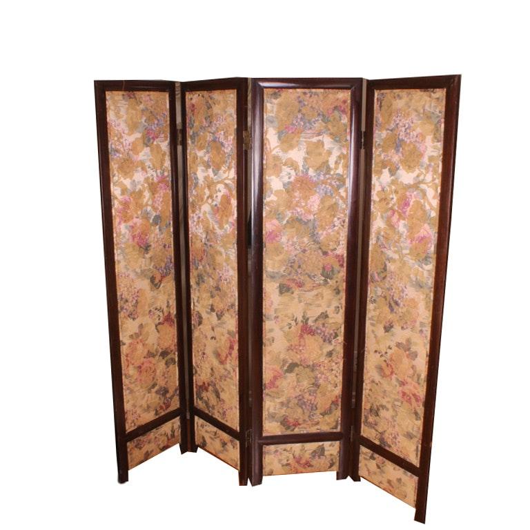 Vintage Hardwood And Floral Upholstered Four Panel Screen