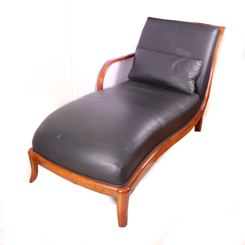 Contemporary Black Leather Chaise with Pillow