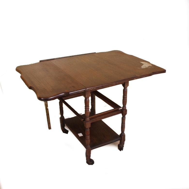 Vintage Drop Leaf Rolling Cart Table