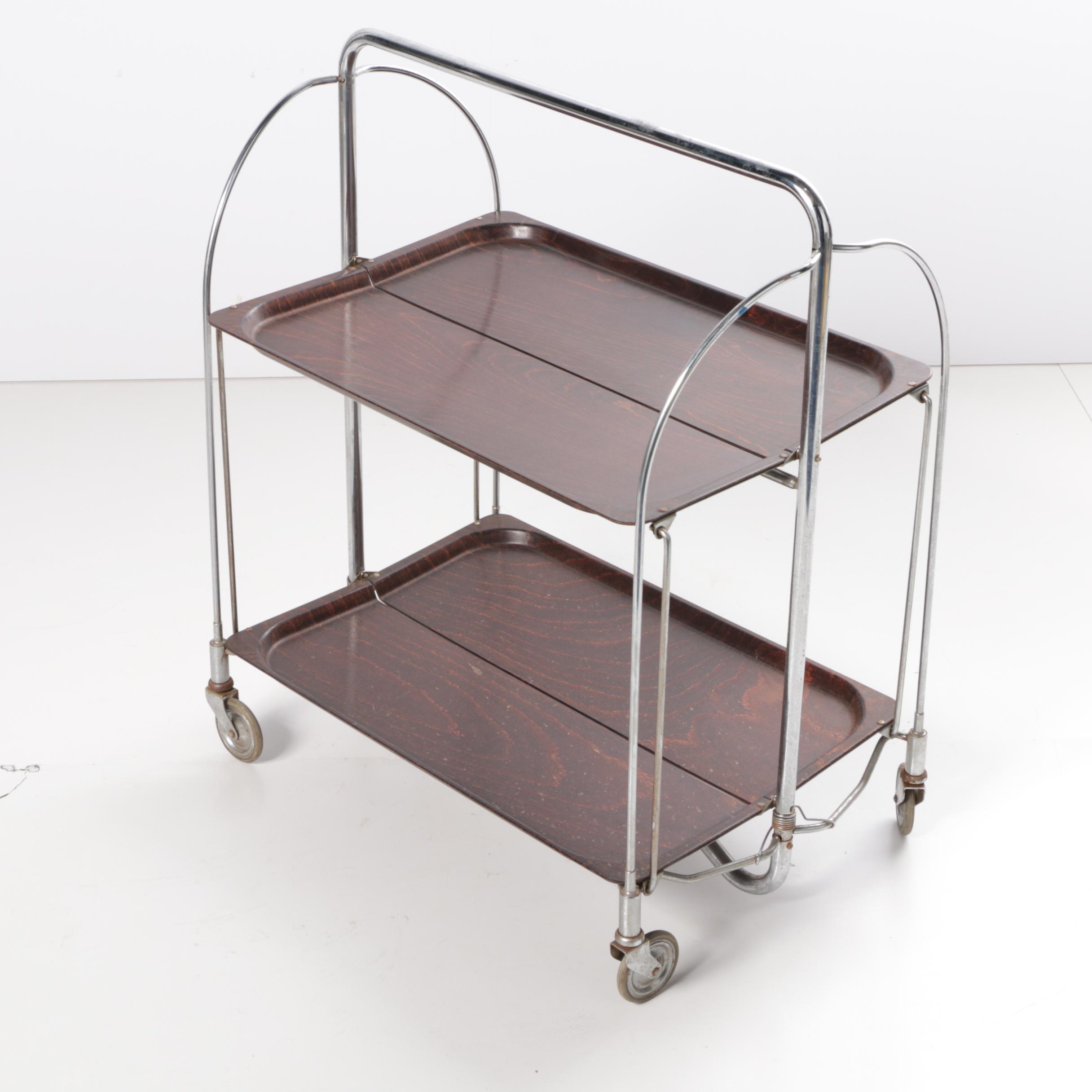 "Mid Century Modern Gerlinol ""Dinett"" Folding Cart by Bremshey & Co."