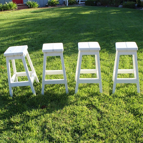 White Painted Wooden Stools
