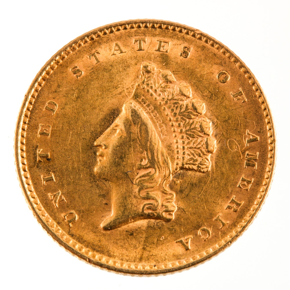 1855 Indian Princess Head One-Dollar Gold Coin