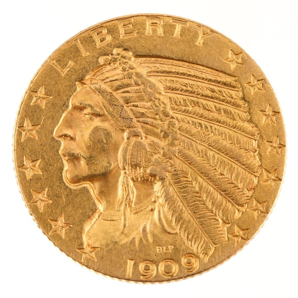 1909 Indian Head Half-Eagle Gold Coin
