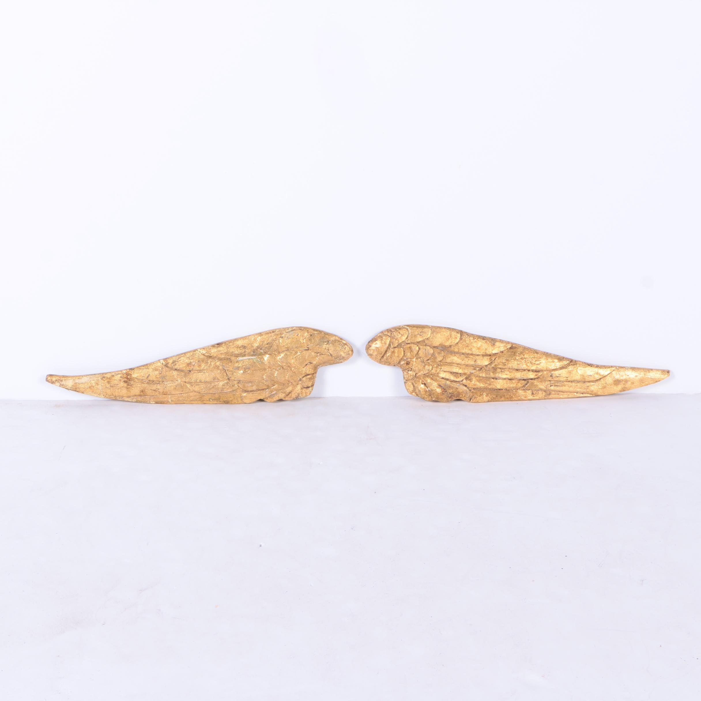 Rustic Wooden Gold Toned Wings