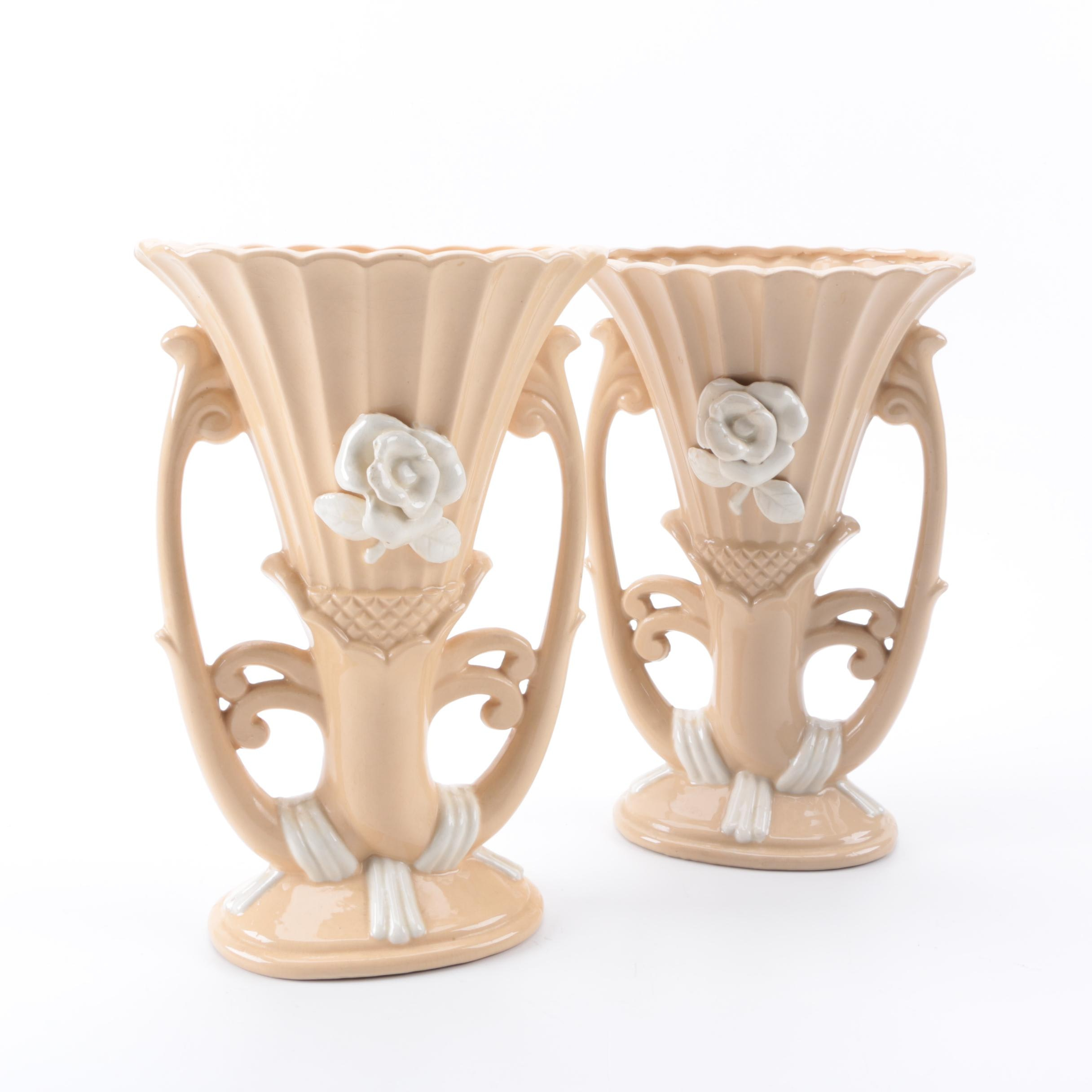 Pair of Japanese Blush and Ivory Vases