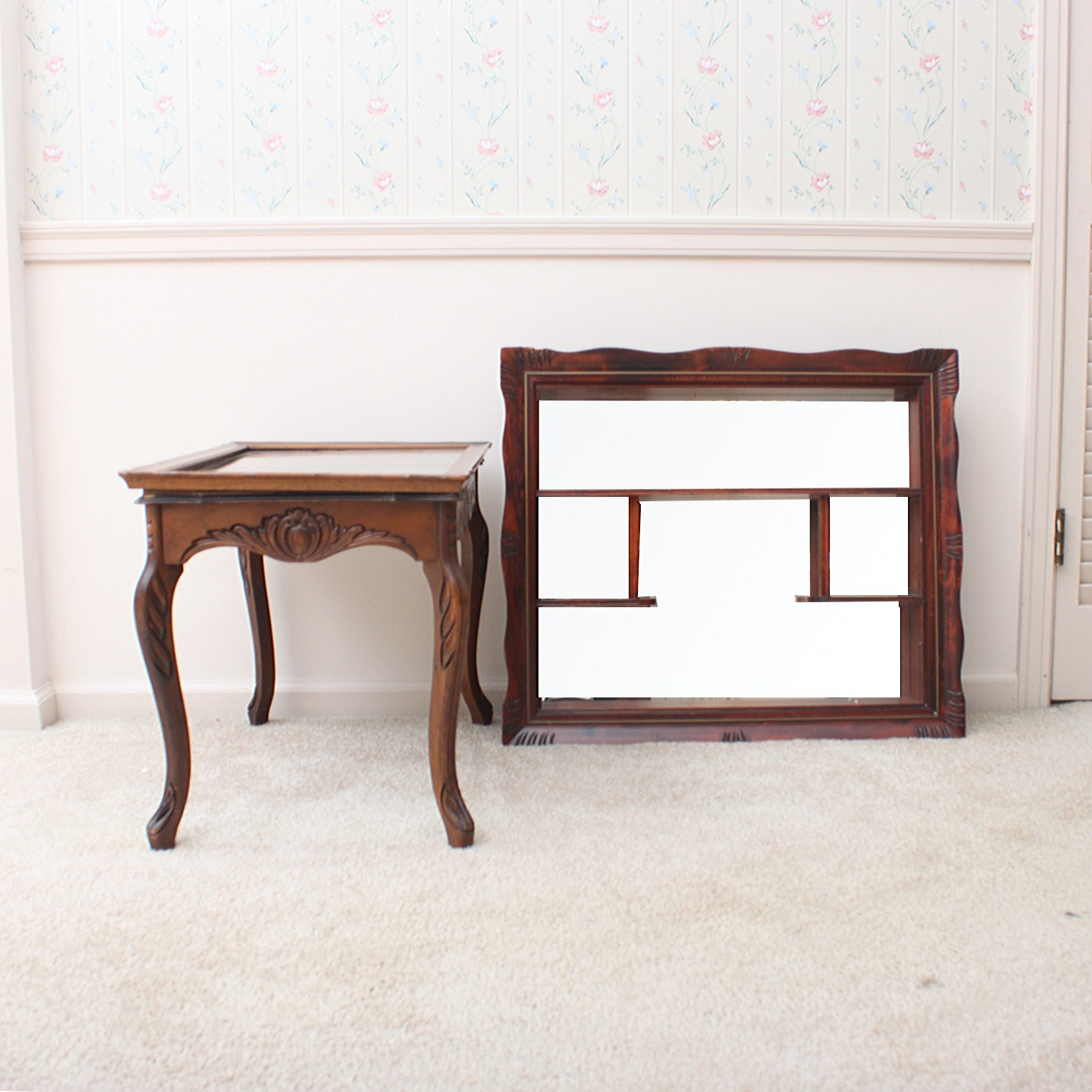 Vintage Marquetry Side Table and Wall Shelf With Mirror