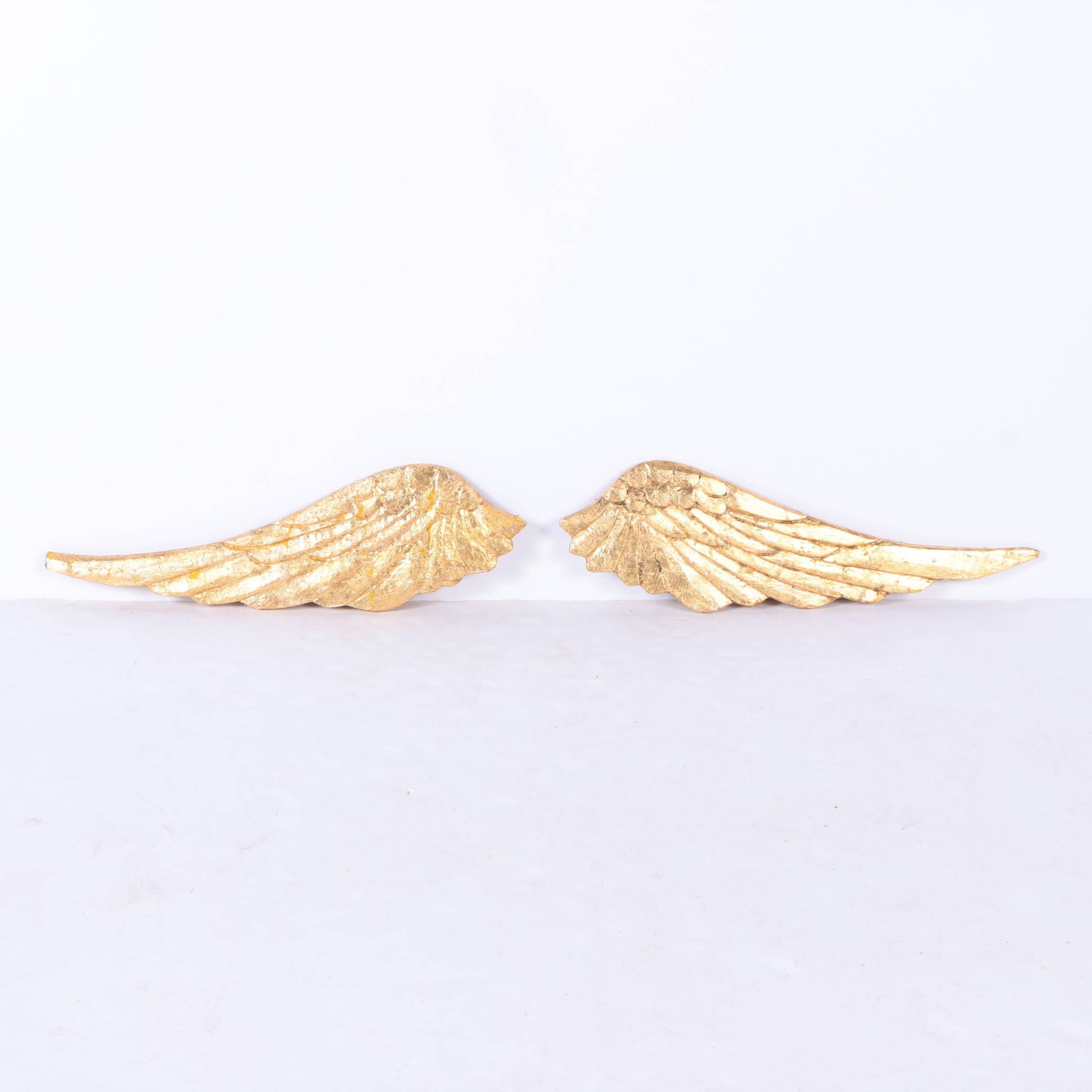 Carved Gold-Tone Decorative Wooden Wings