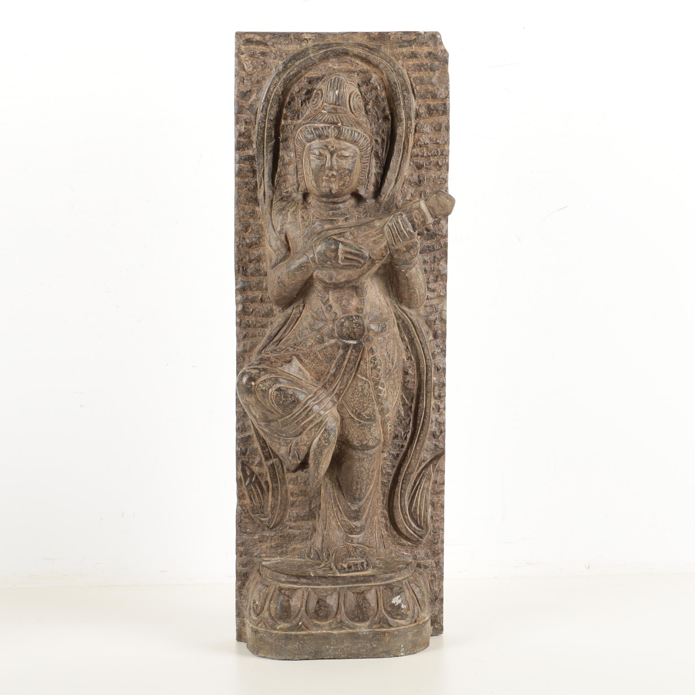 Indian Carved Granite Sculpture of a Female Musician