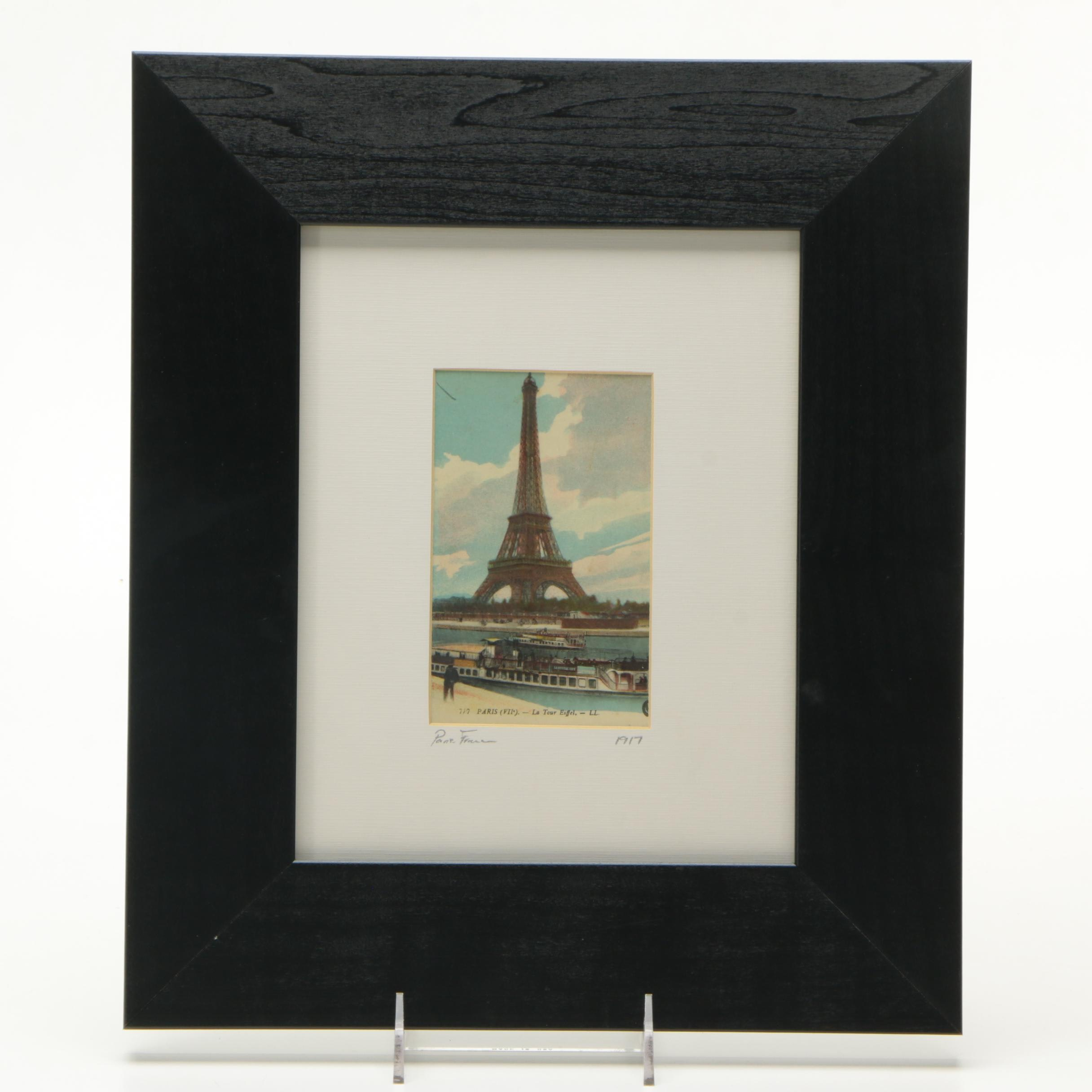 PRIORITY-1917 Chromolithographic Postcard of Paris with Note