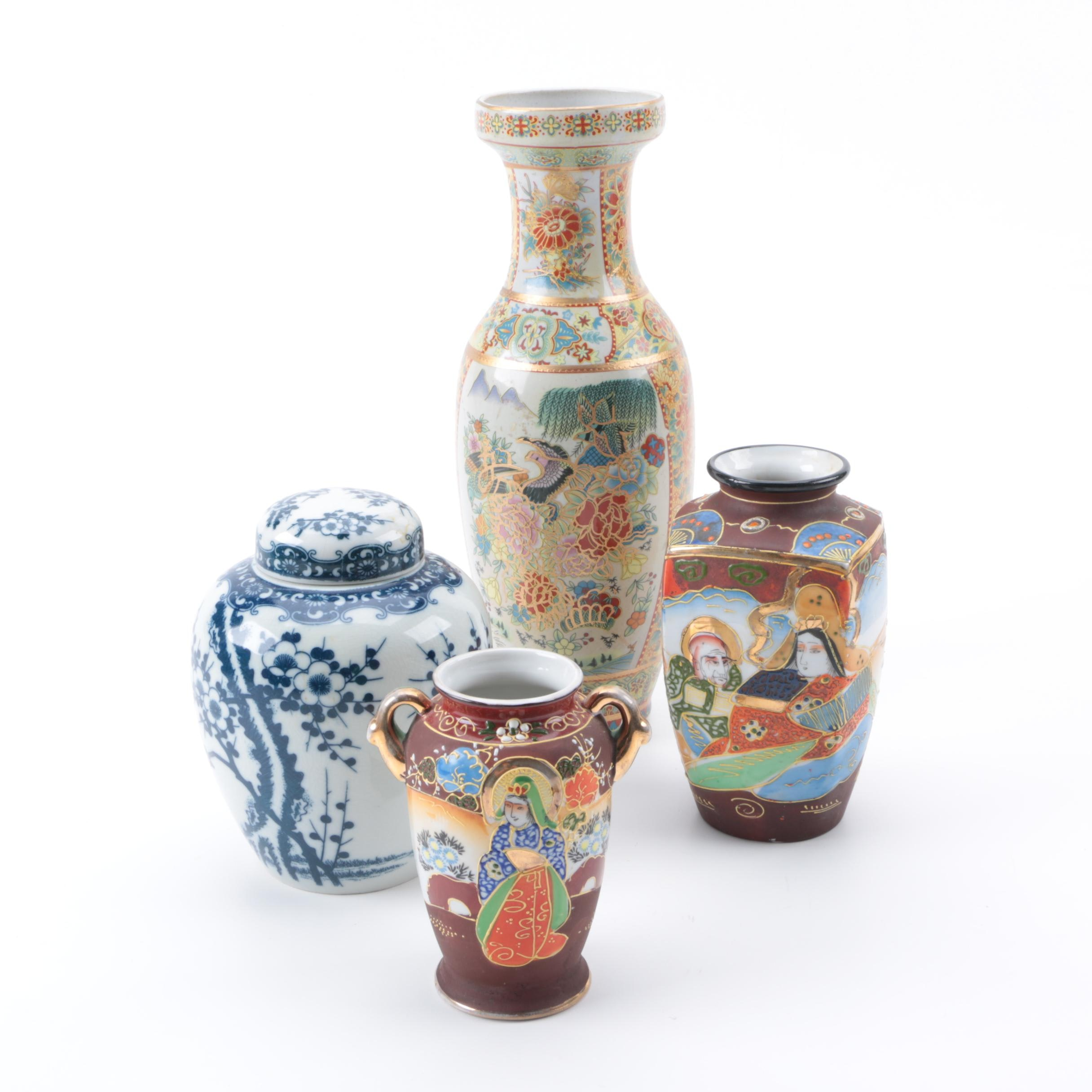 Assortment of Vintage East Asian Ceramic Vases and Urn