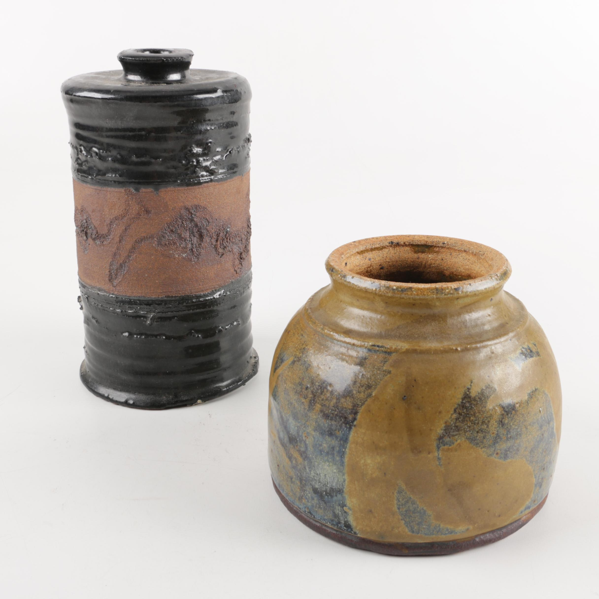 Pair of Handcrafted Stoneware Vessels