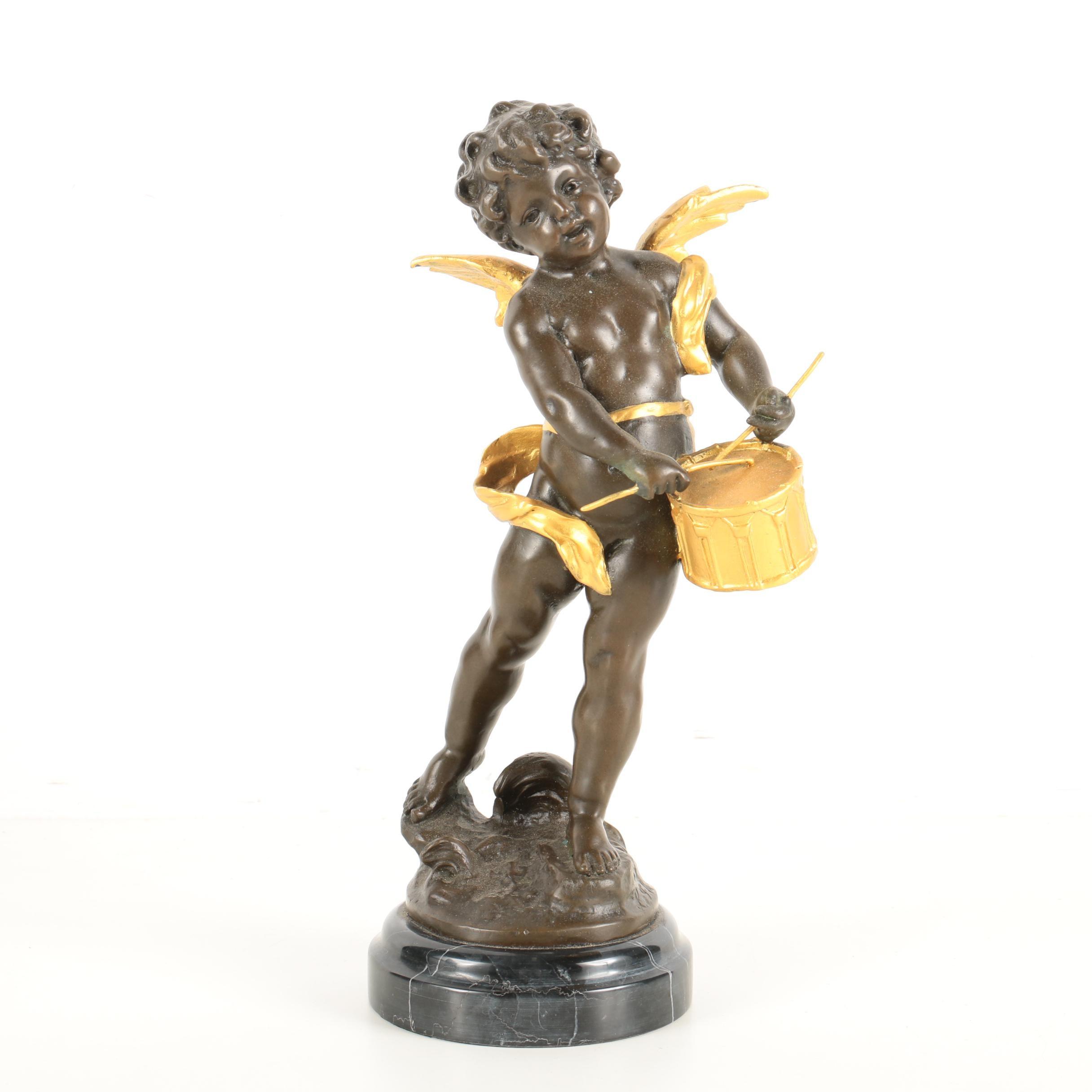Reproduction Brass Sculpture of a Cherub