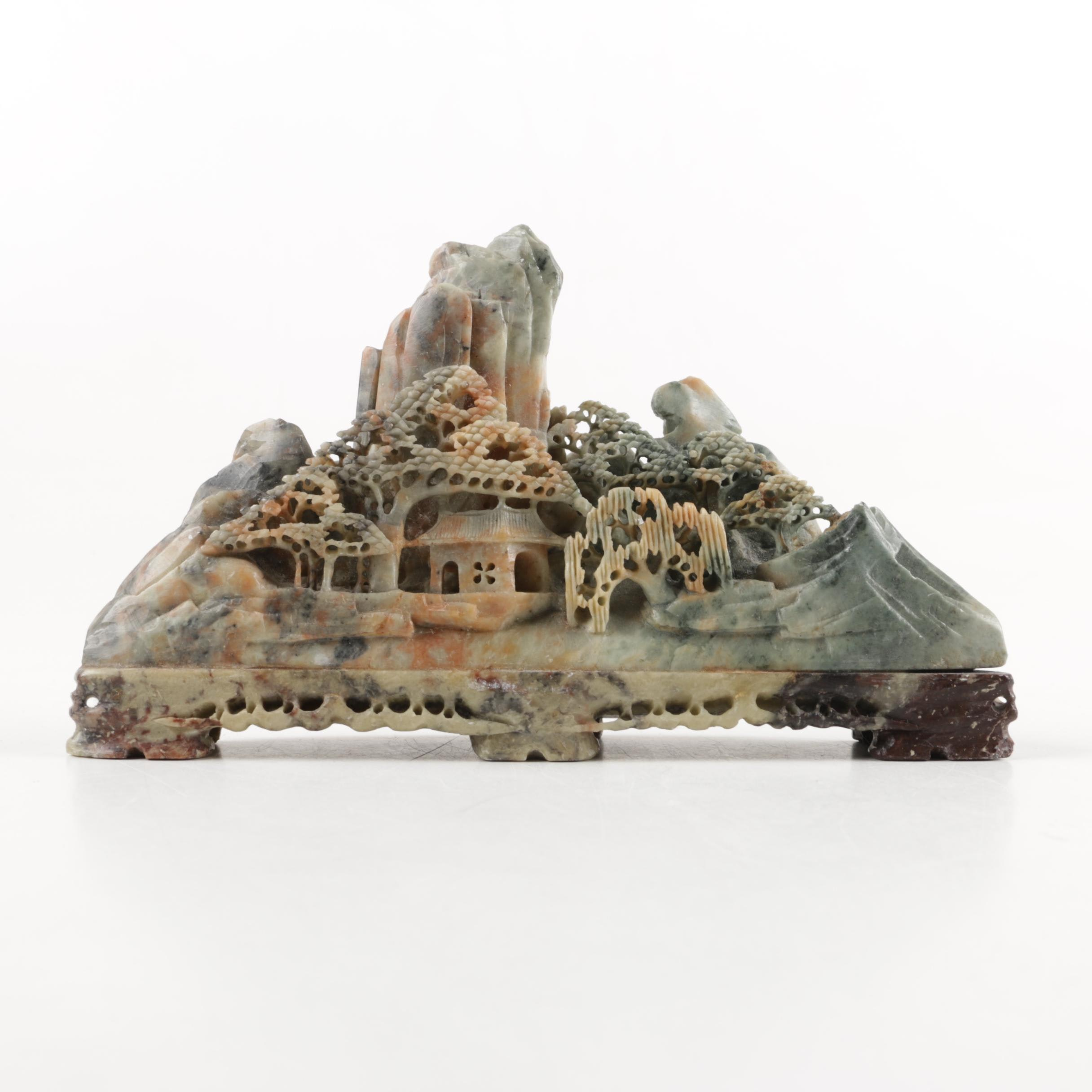 Chinese Carved Soapstone Shoushan Style Sculpture