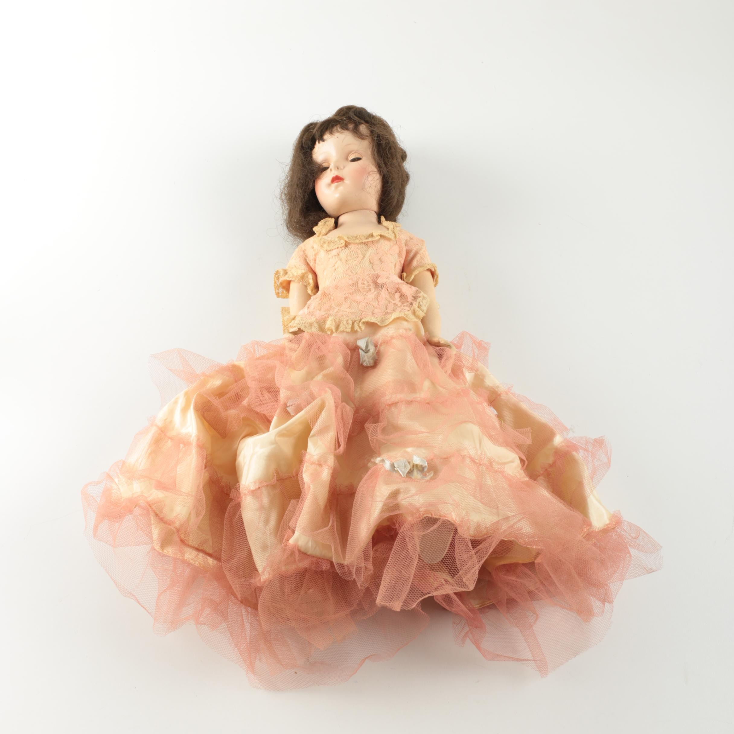 Vintage Hand-Painted Composition Doll