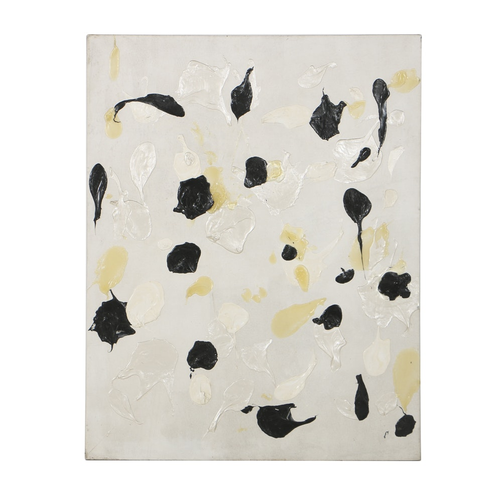 """Lucy Baker Acrylic Painting on Canvas """"White and Black"""""""