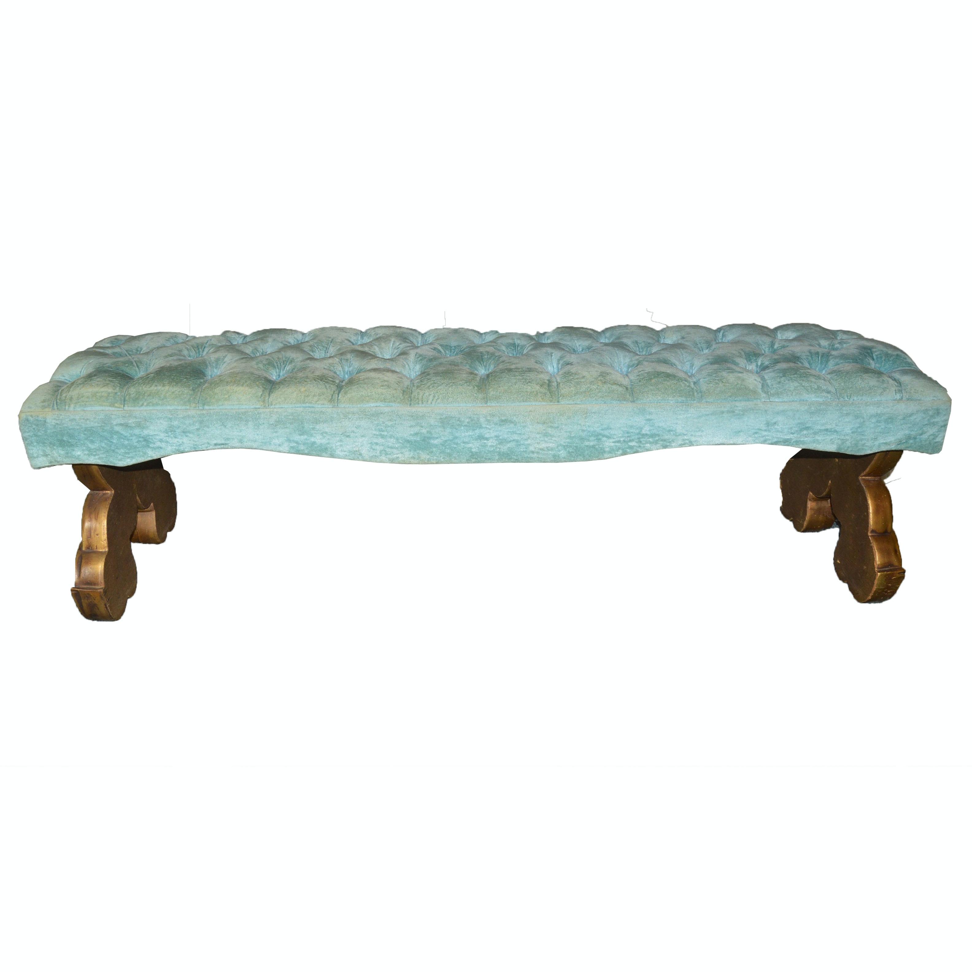 Button-Tufted Blue Velvet Bench