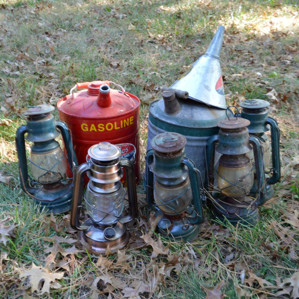 Metal Lanterns and Gas Cans