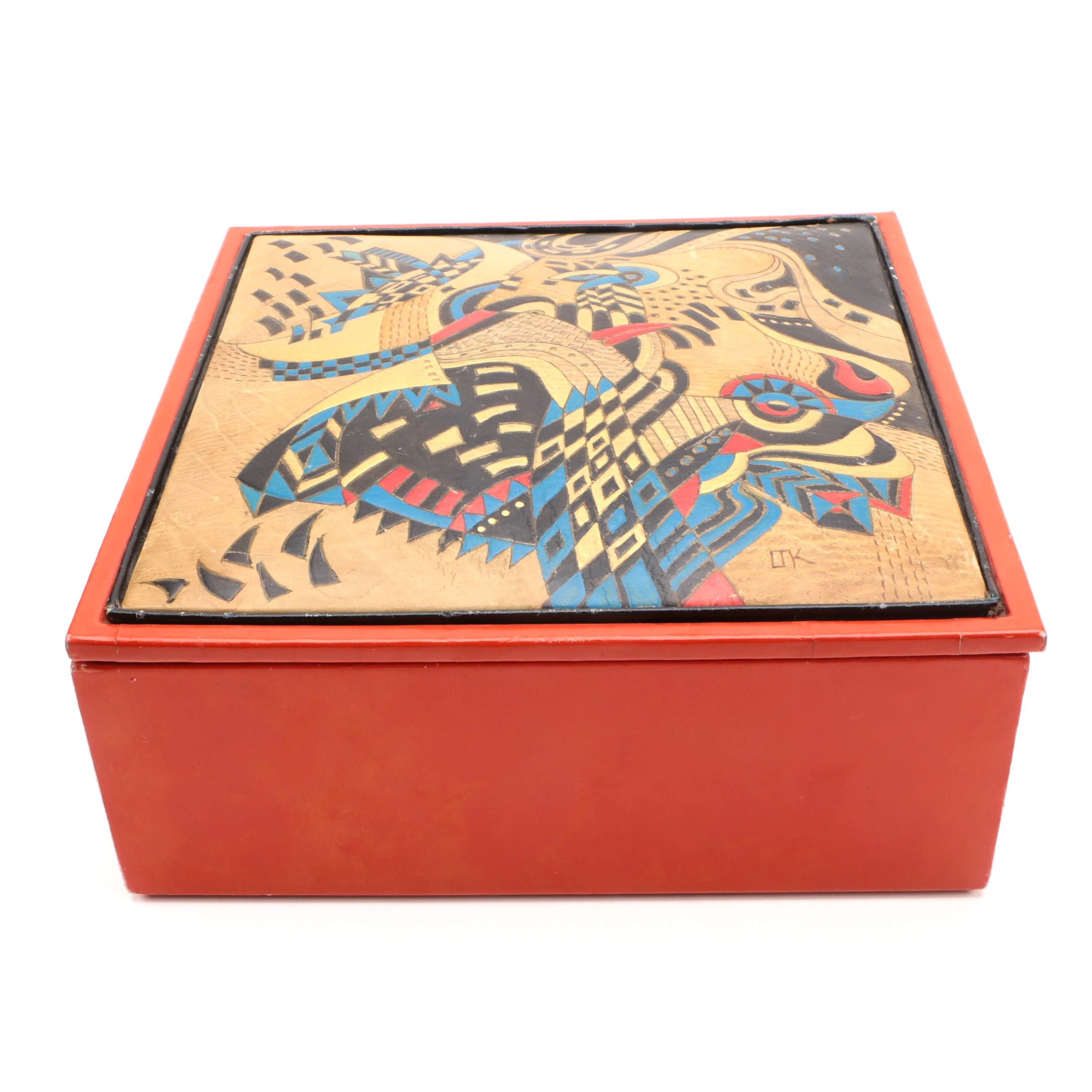 Red Lacquered Box with Embossed Leather Lid