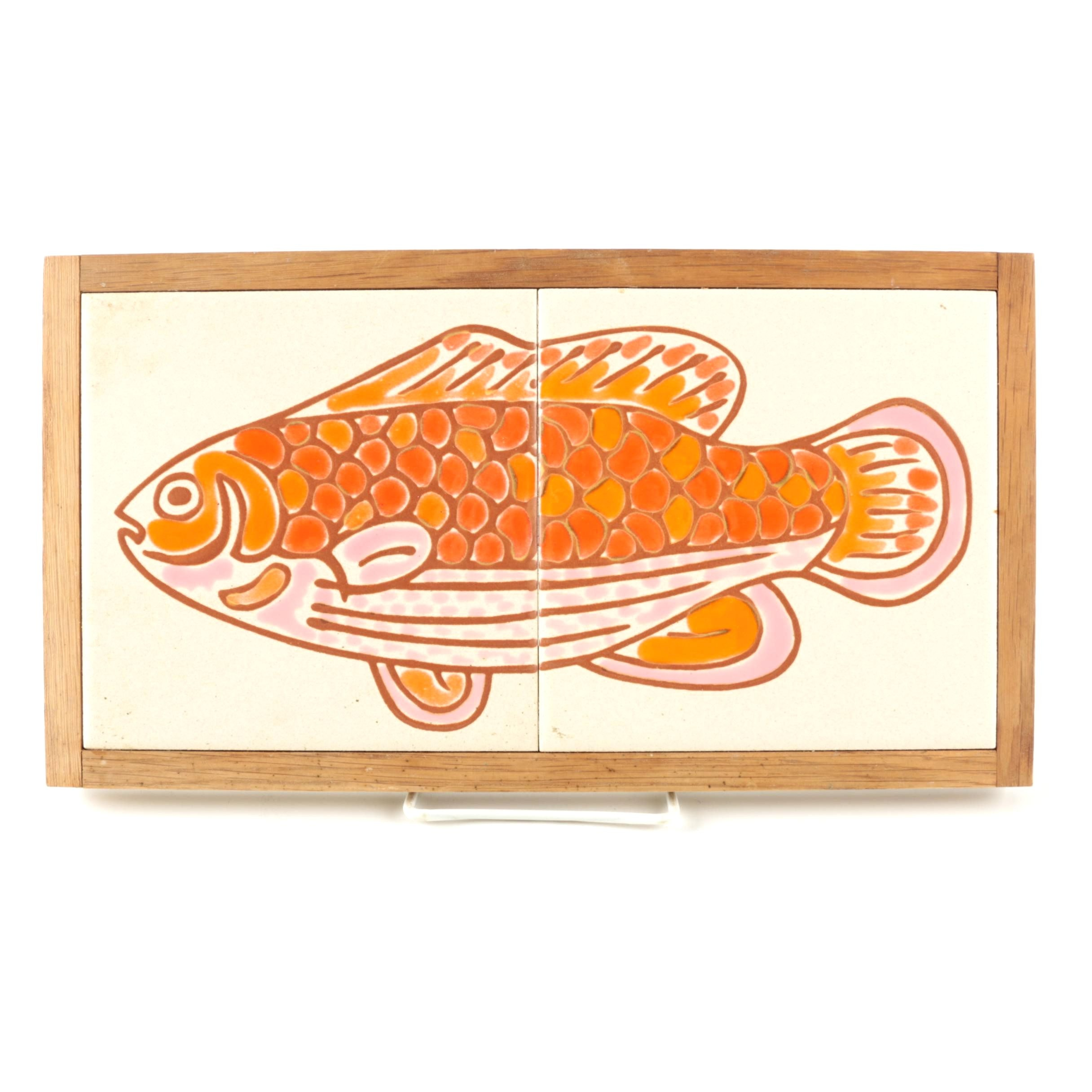 Vintage Mid Century Art Tile Fish Wall Art Plaque