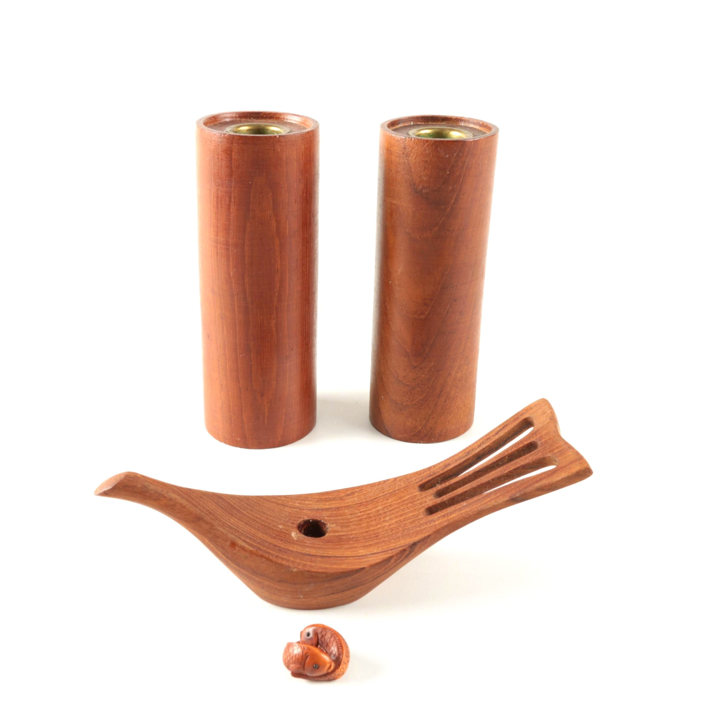 Danish Modern Wooden Candle Holders and Decor
