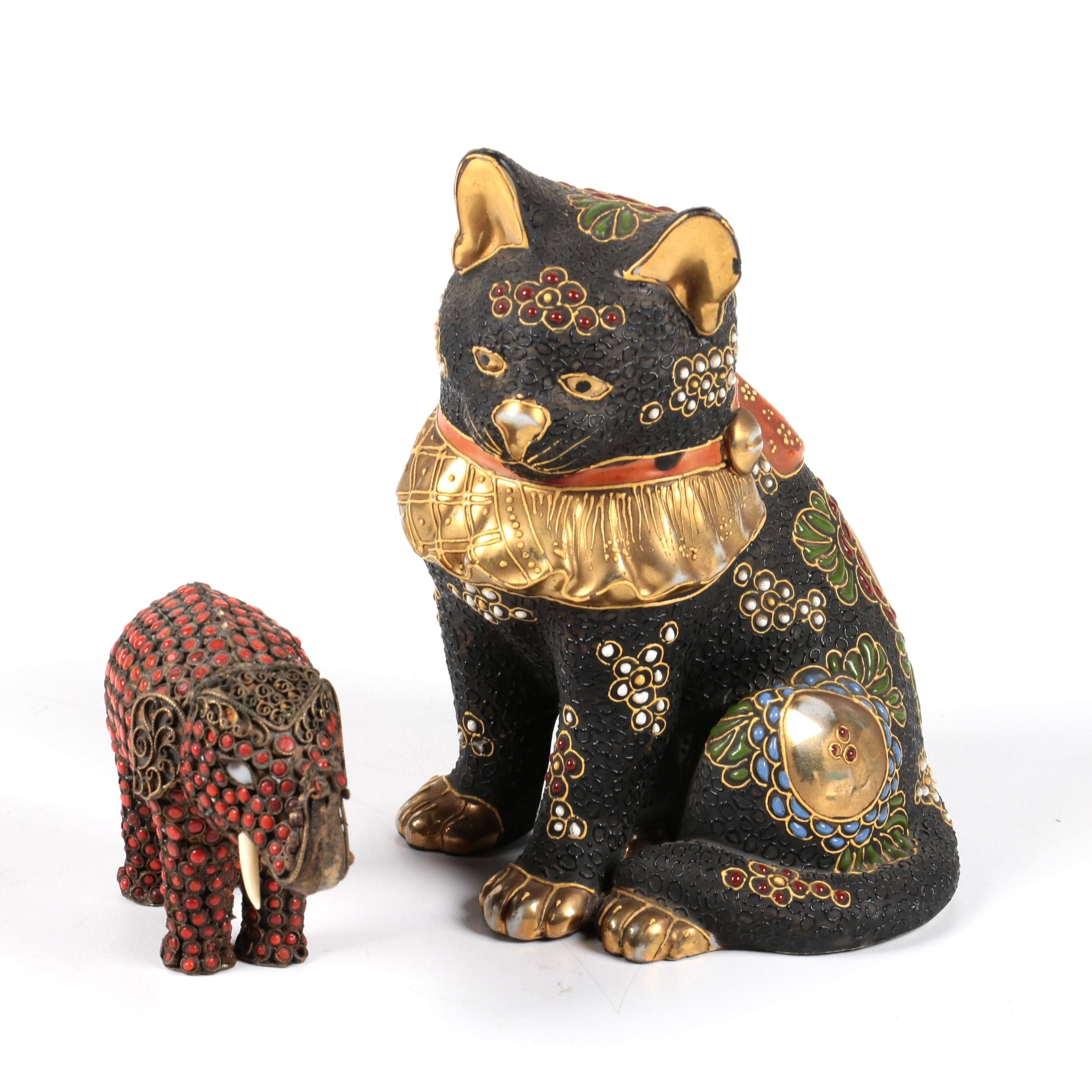Japanese Ceramic Cat and Tibetan Style Brass Elephant Figures