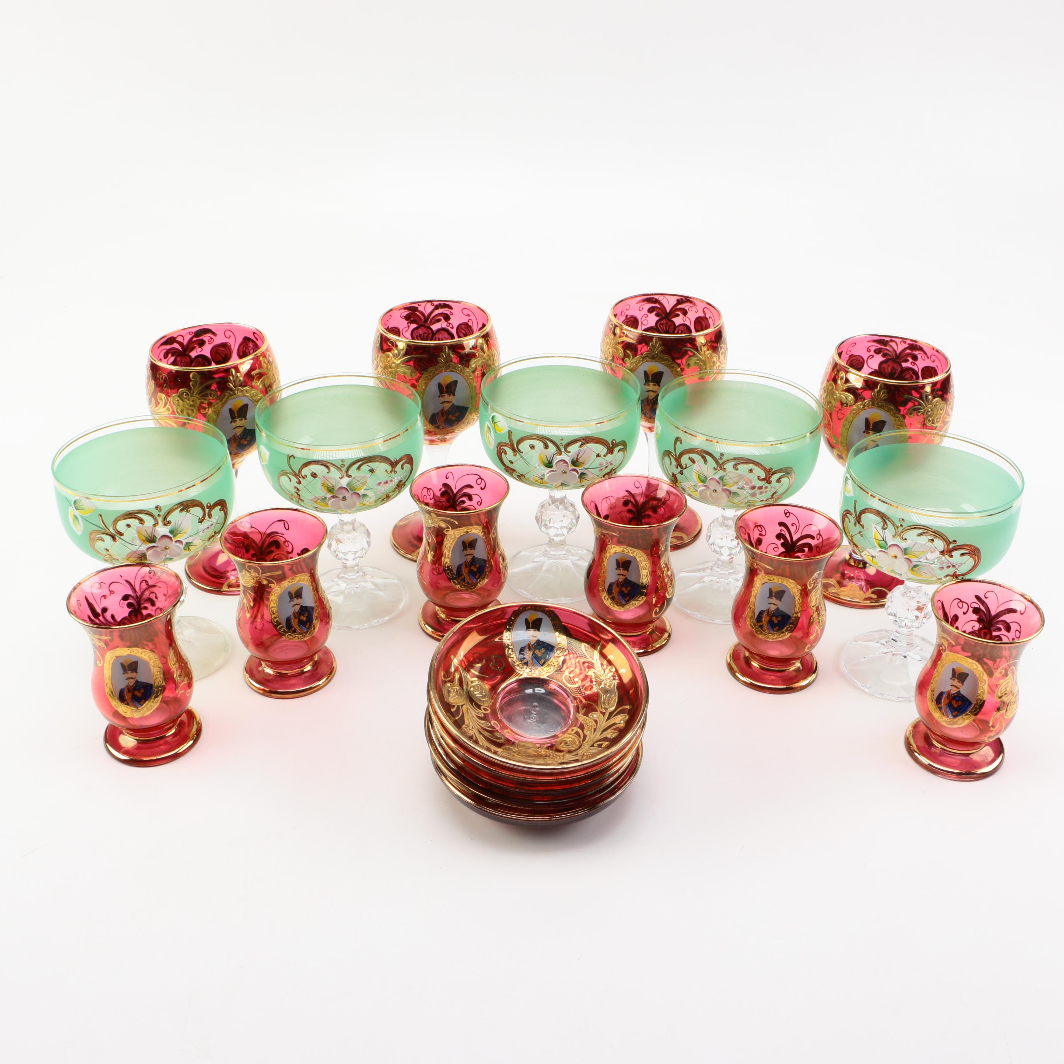 Hand-painted Glass Stemware and Saucers