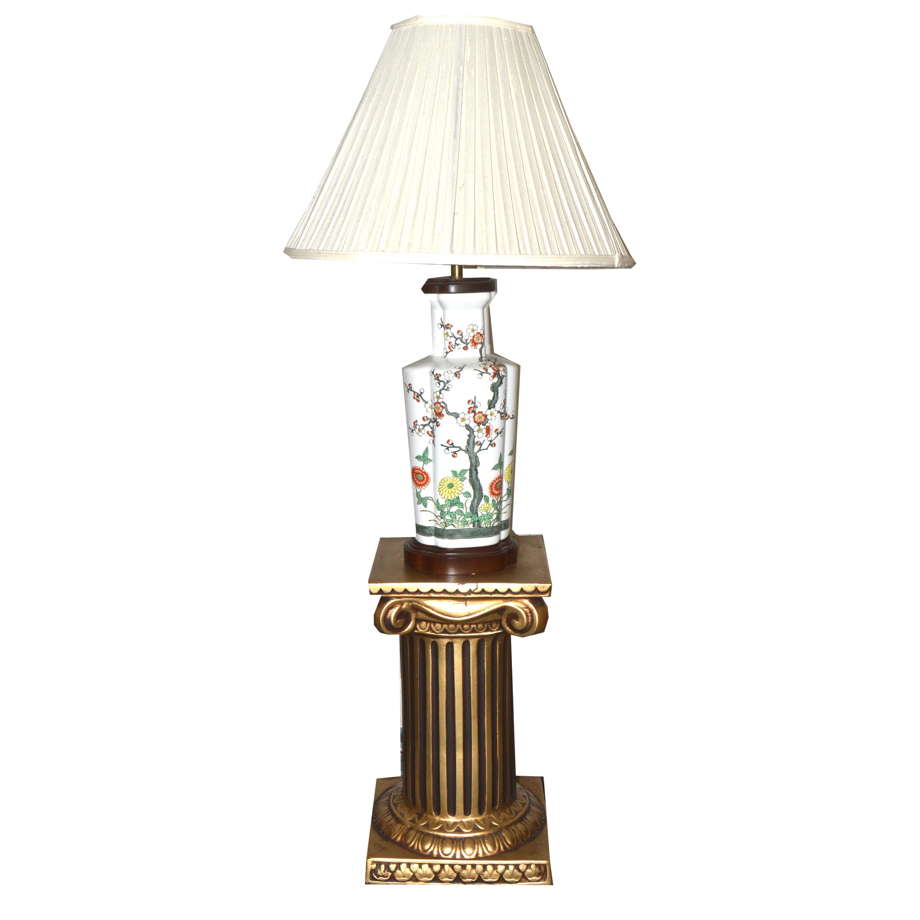 Decorative Arts Painted Column Form Floor Lamp Antiques