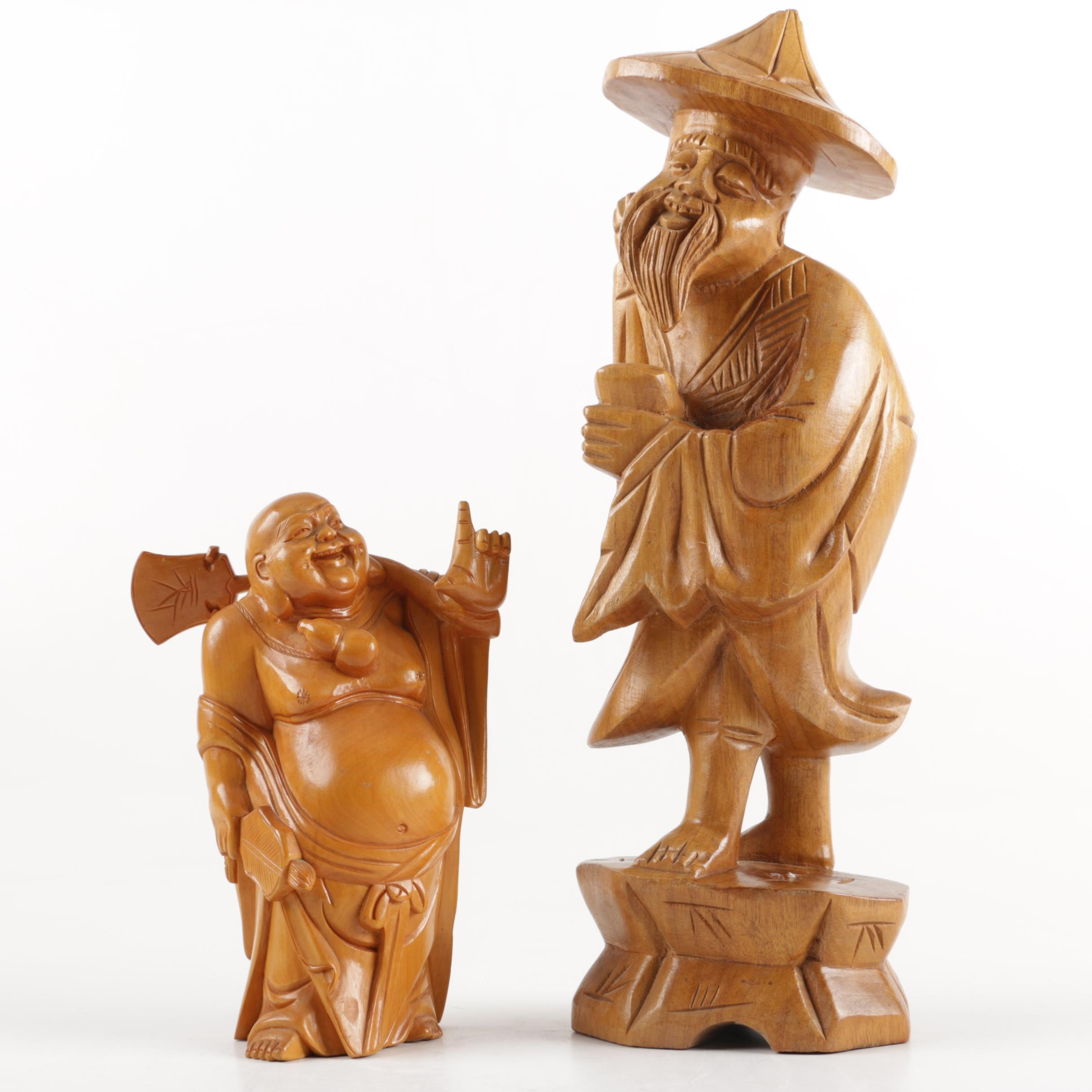 Pair of Wooden East Asian Figurines