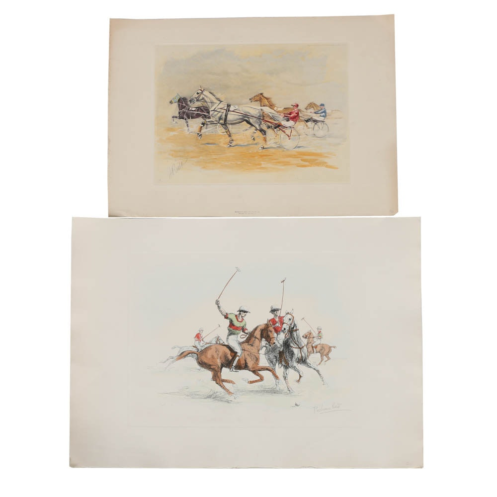 Pair of Lithographs on Paper of Equestrian Sporting Scenes