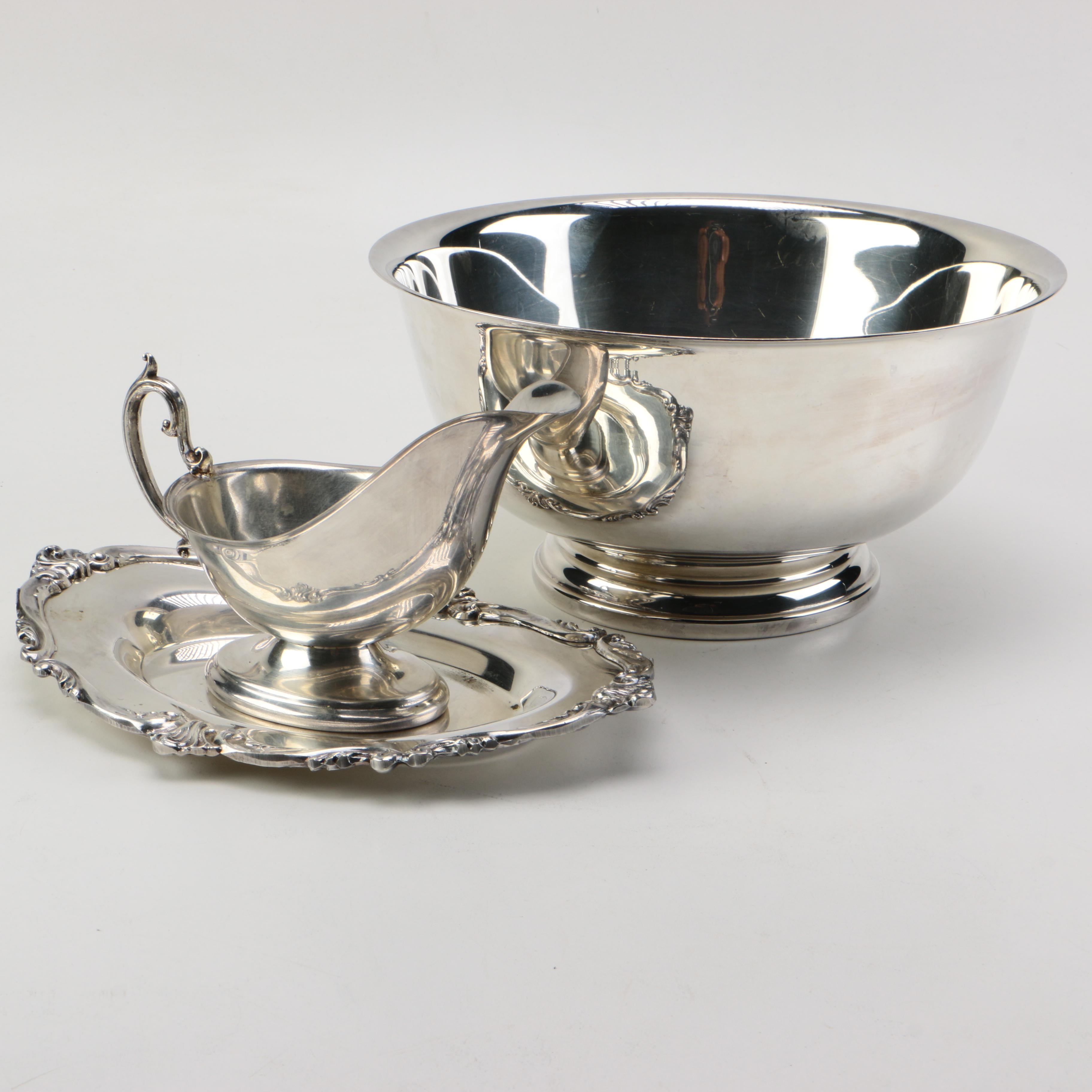 """Gorham """"Paul Revere"""" Silver Plate Bowl and Gravy Boat with Tray"""