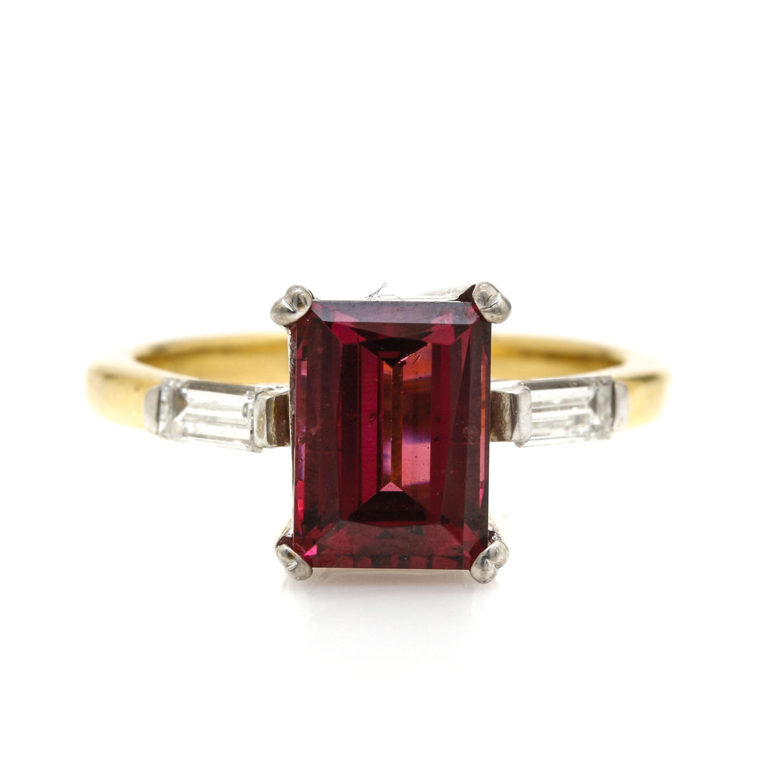 18K Two Tone Gold Diamond and Rhodolite Garnet Ring