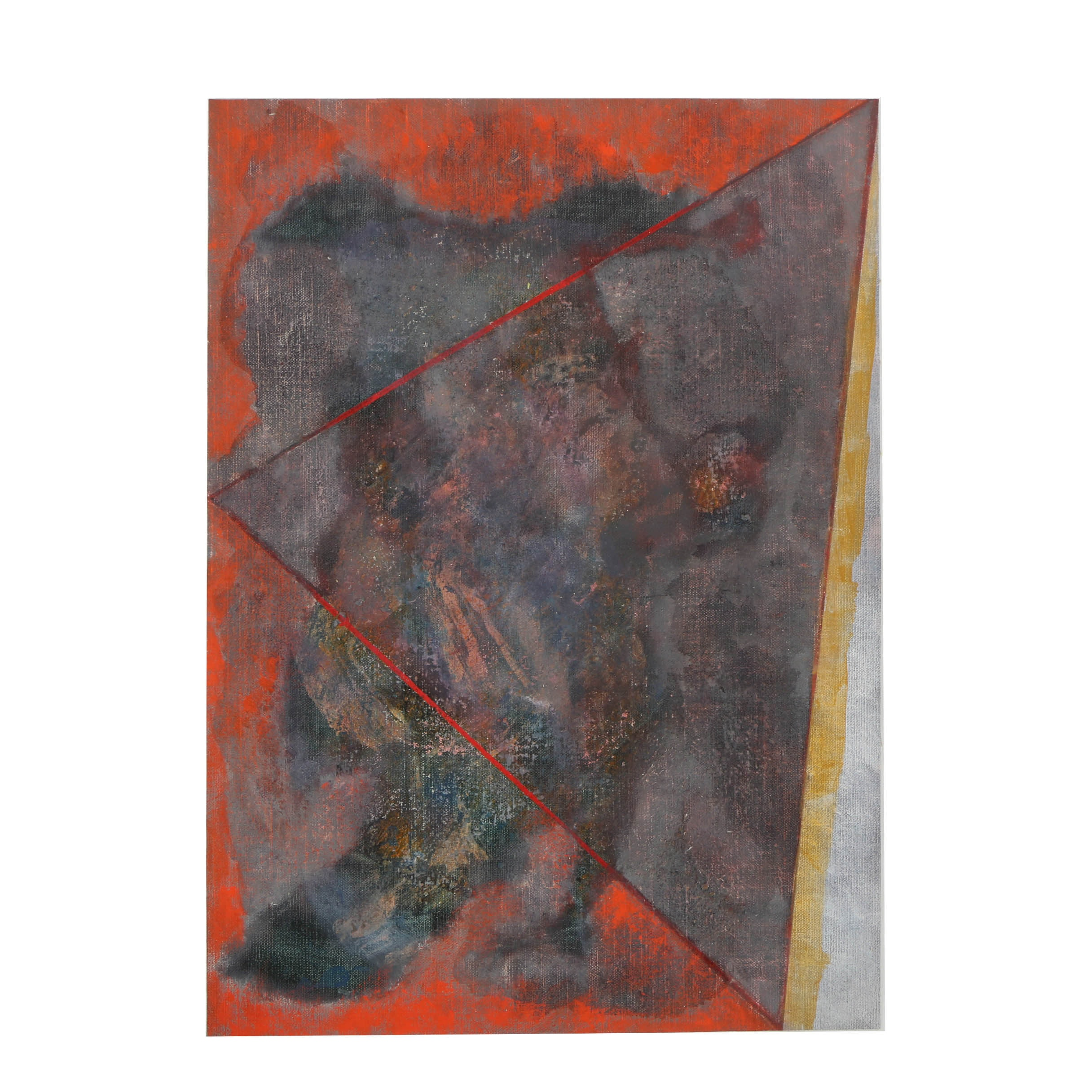 """Ricardo Morin Oil Painting on Unstretched Linen """"Triangulation No. 35"""""""