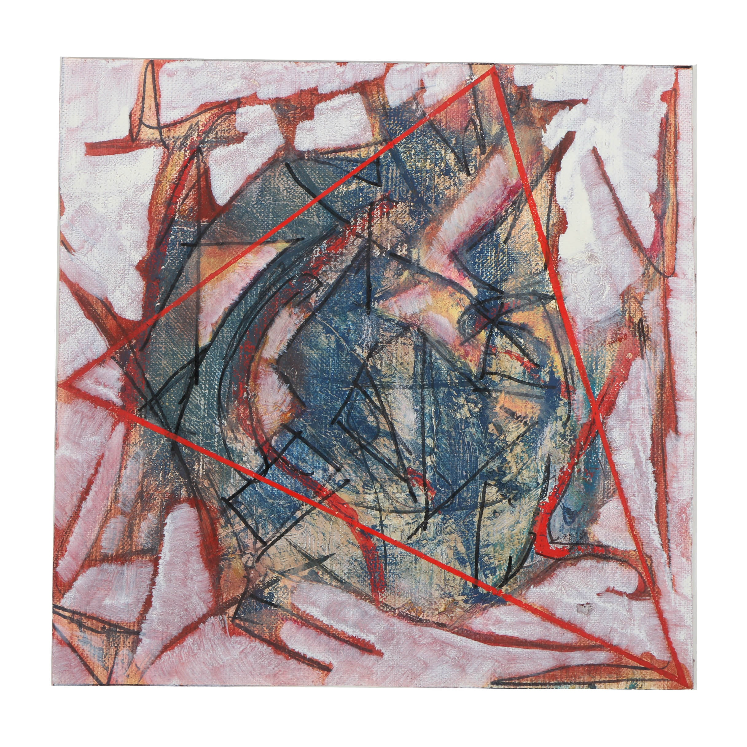 """Ricardo Morin Oil Painting on Unstretched Linen """"Triangulation No. 40"""""""