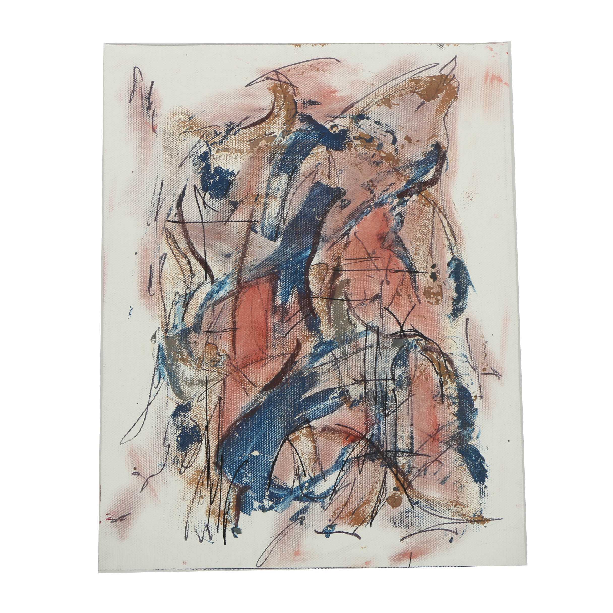 Ricardo Morin Oil Painting on Unstretched Linen of an Abstract Composition