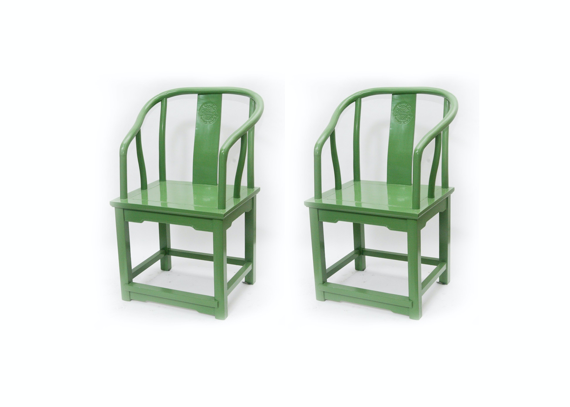 Asian Inspired Green Yoke Back Chairs
