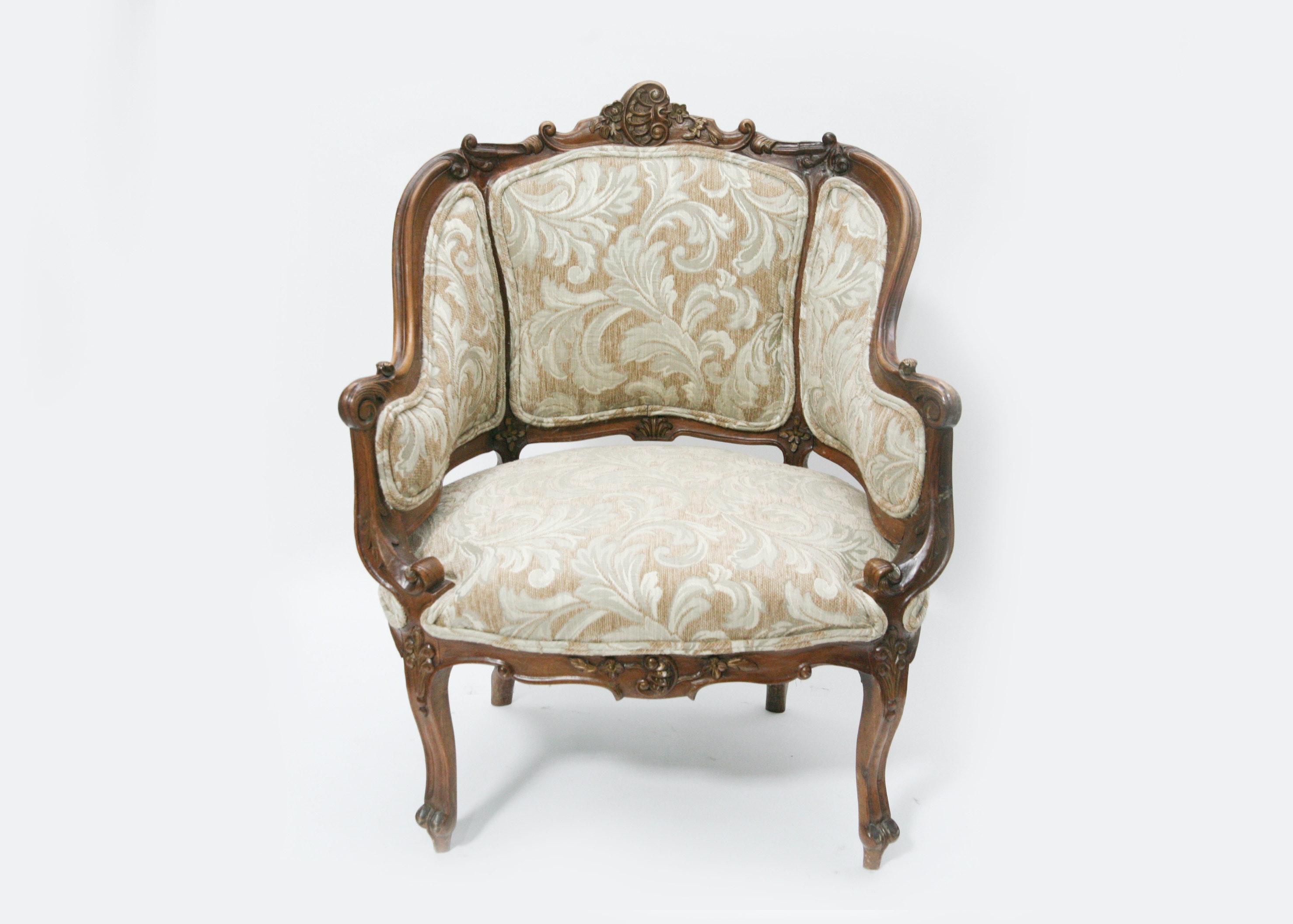 Vintage Victorian Style Upholstered Bergère